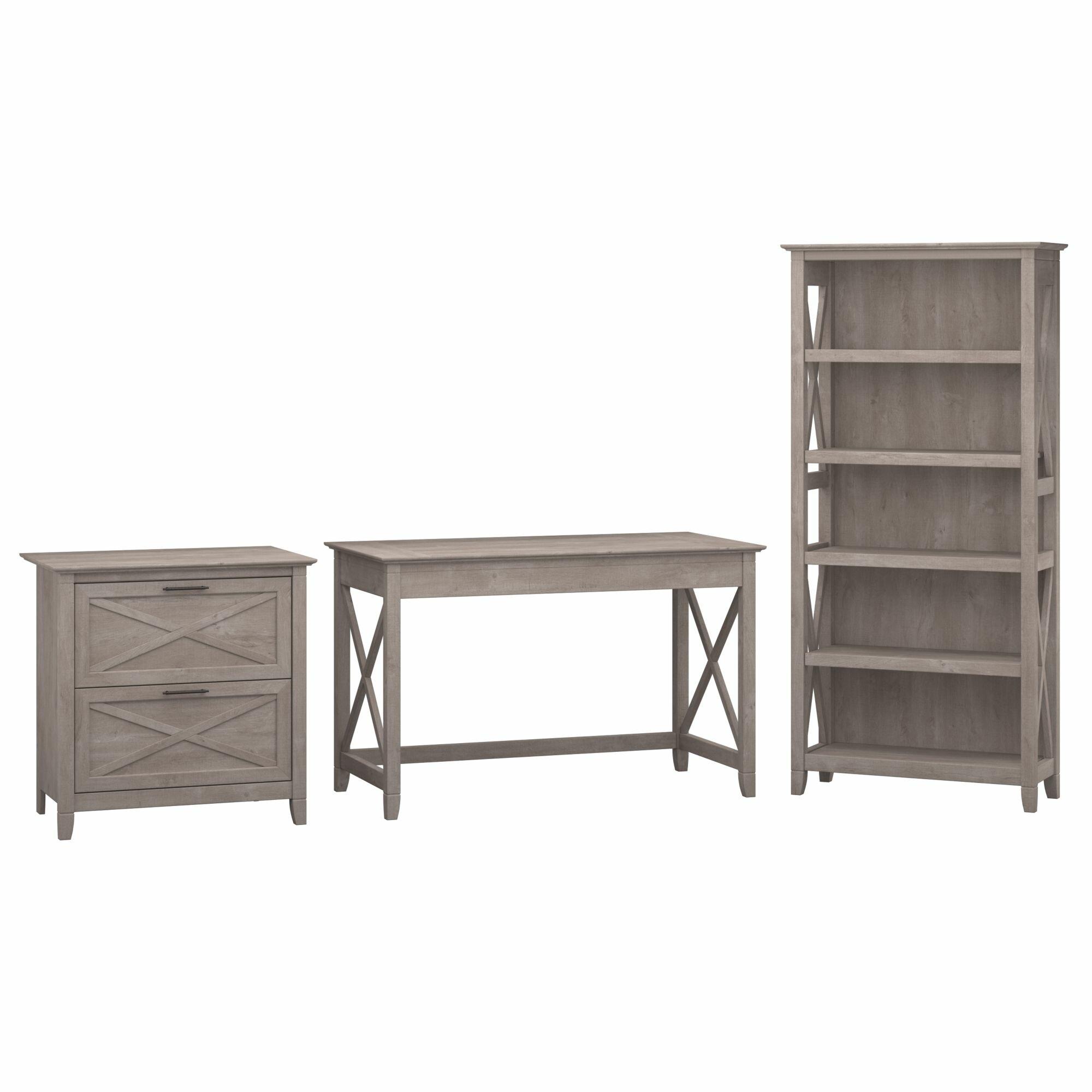 Bush furniture key west 3 piece standard desk office suite for Furniture 3 piece suites