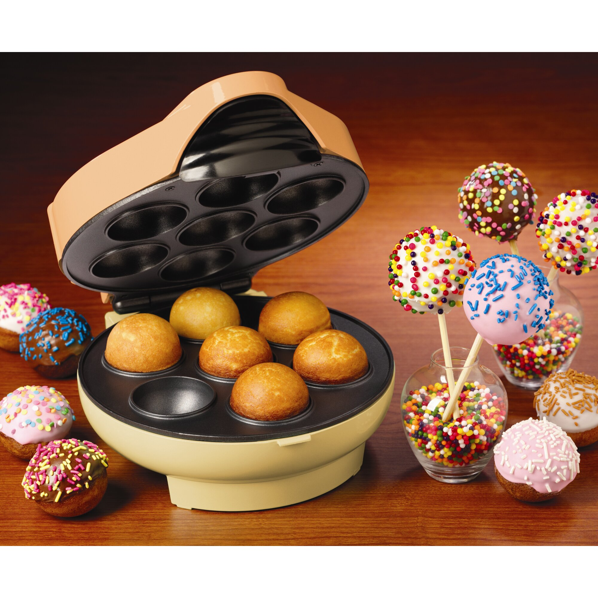 nostalgia electrics cake pop and donut hole maker reviews wayfair. Black Bedroom Furniture Sets. Home Design Ideas