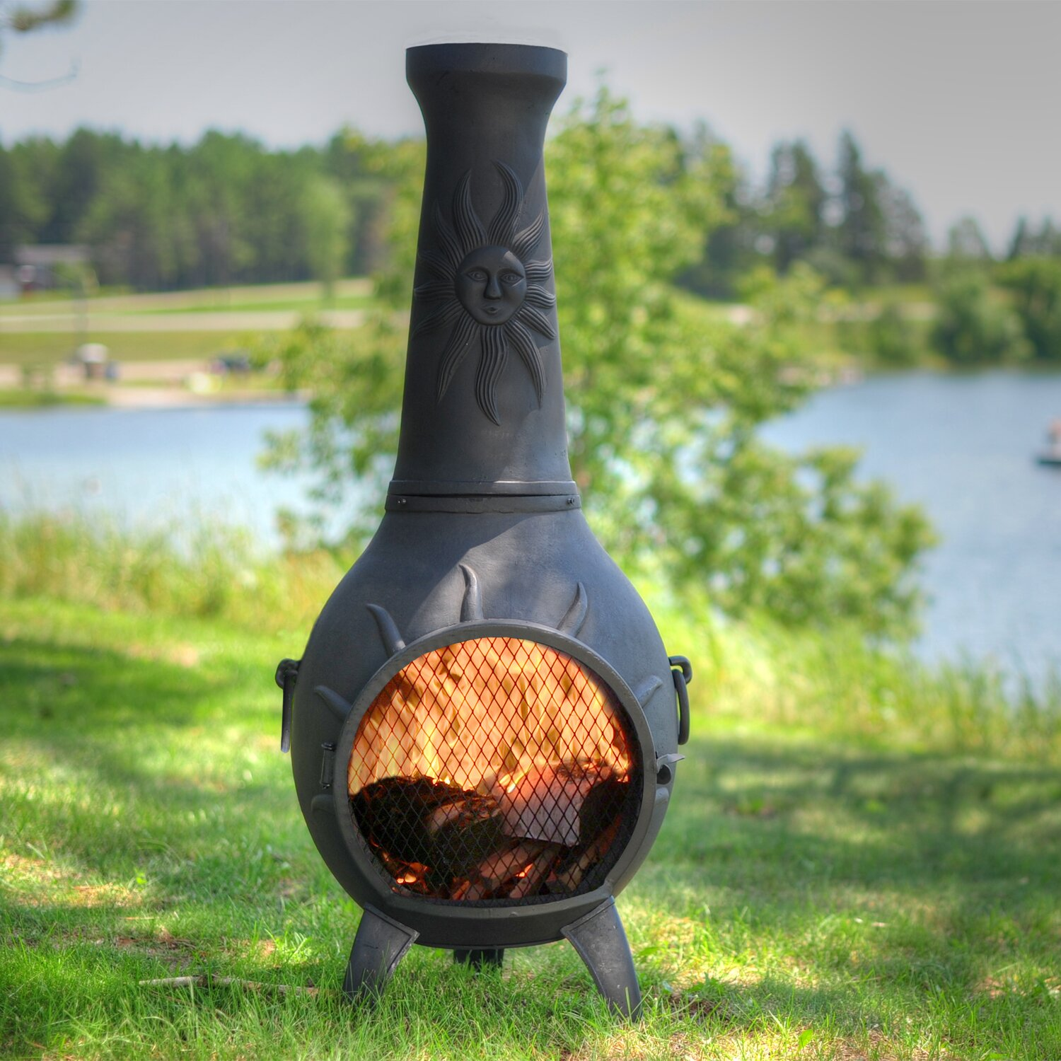 the blue rooster sun stack chiminea with gas kit wayfair