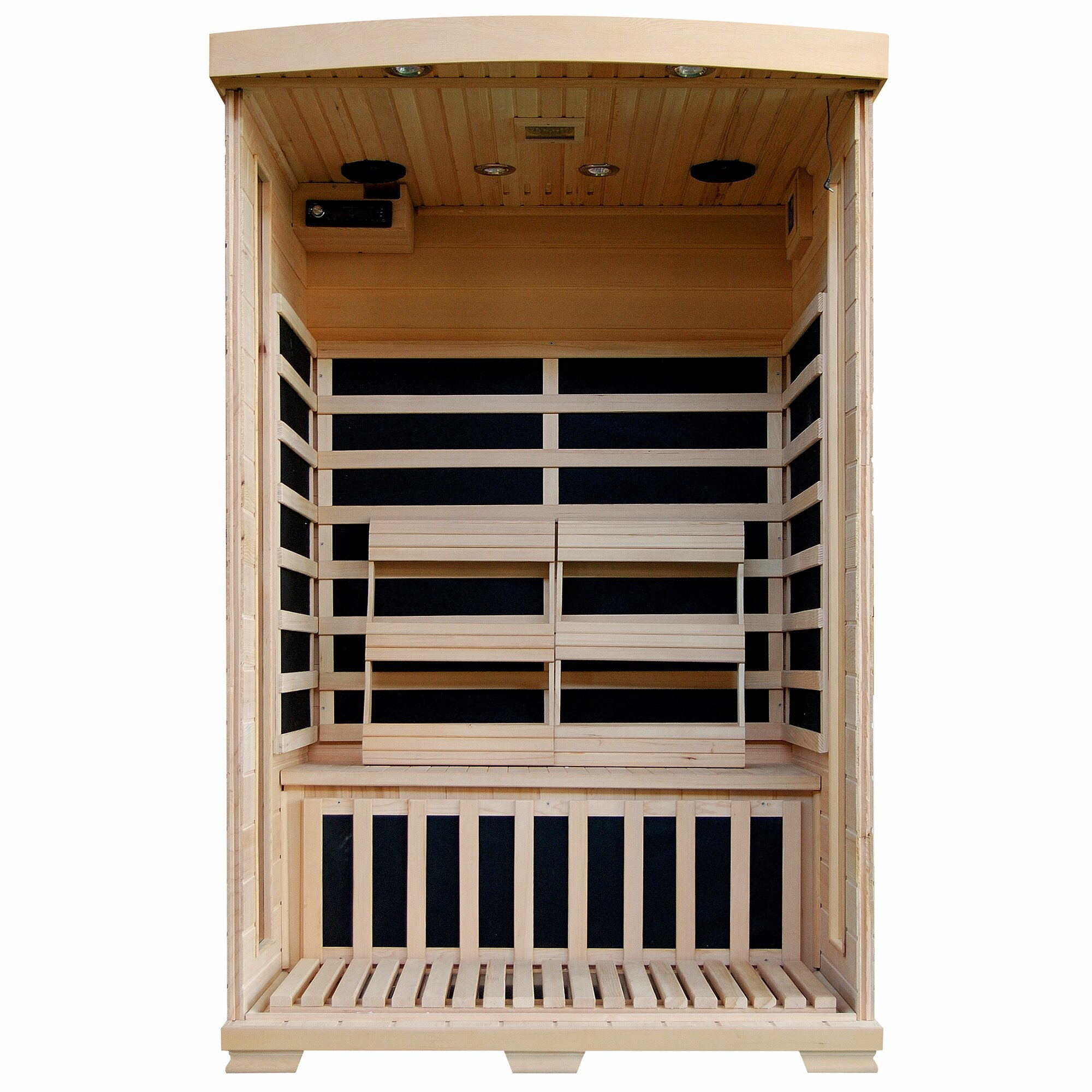 radiant saunas 2 person hemlock deluxe infrared sauna with 6 carbon heaters reviews wayfair. Black Bedroom Furniture Sets. Home Design Ideas