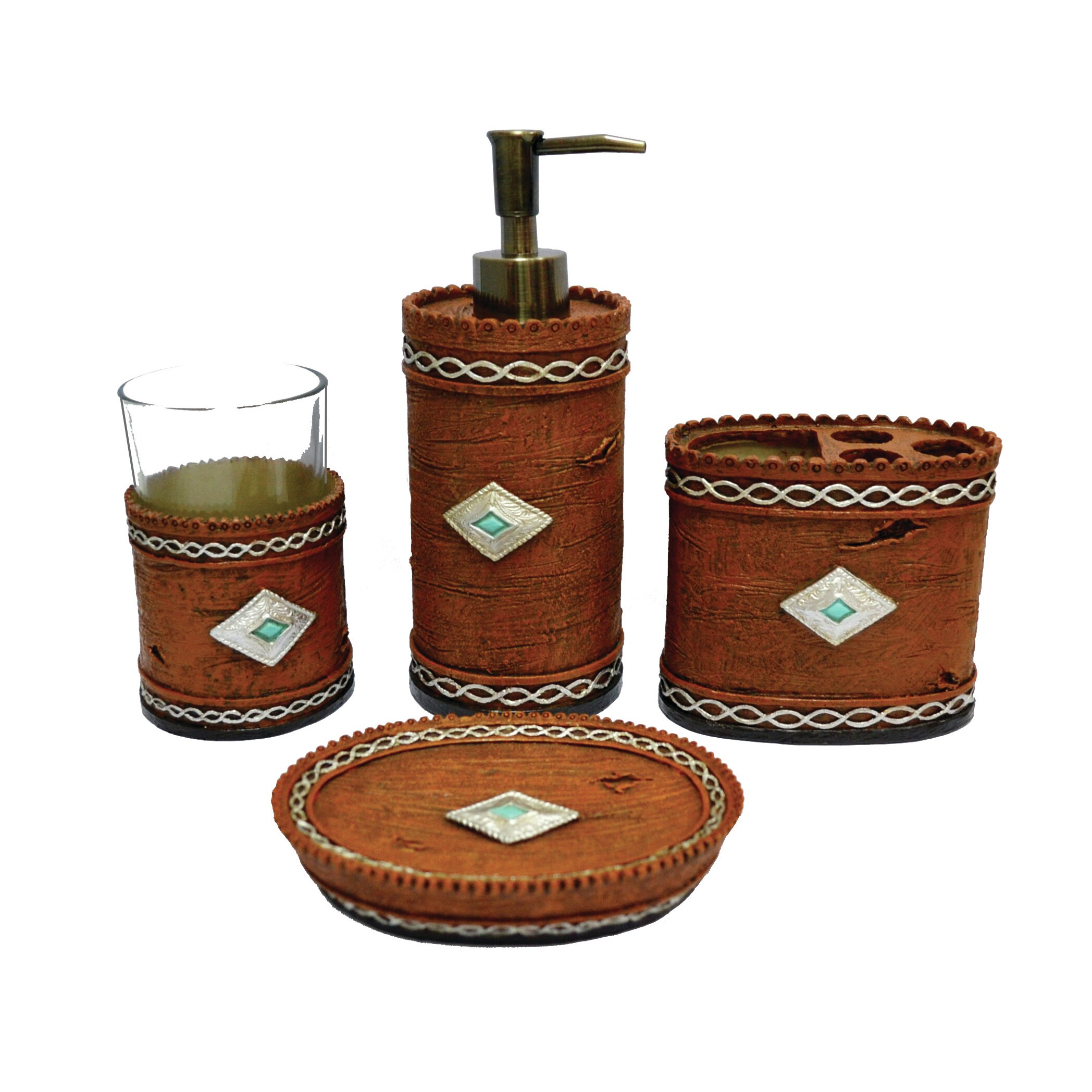Hiend accents navajo 4 piece bathroom set reviews wayfair for Bathroom accessories sets on sale