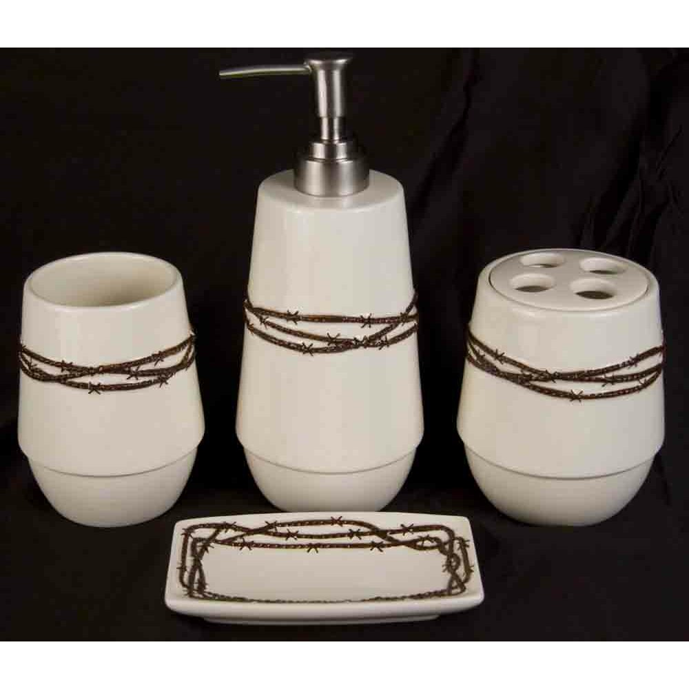 Hiend accents barbwire 4 piece bathroom set reviews for Bathroom 4 piece set
