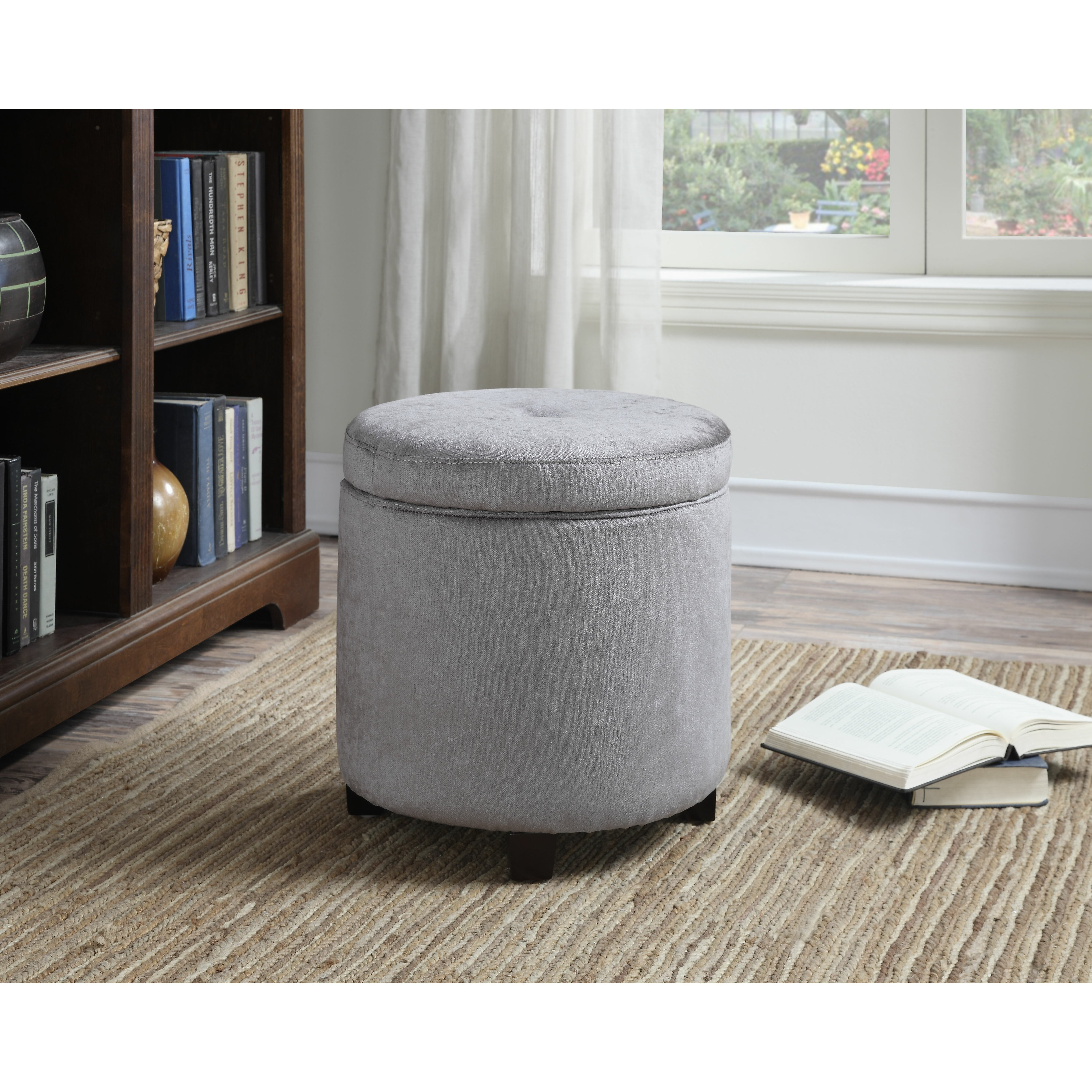 ac pacific mia small round storage ottoman wayfair. Black Bedroom Furniture Sets. Home Design Ideas