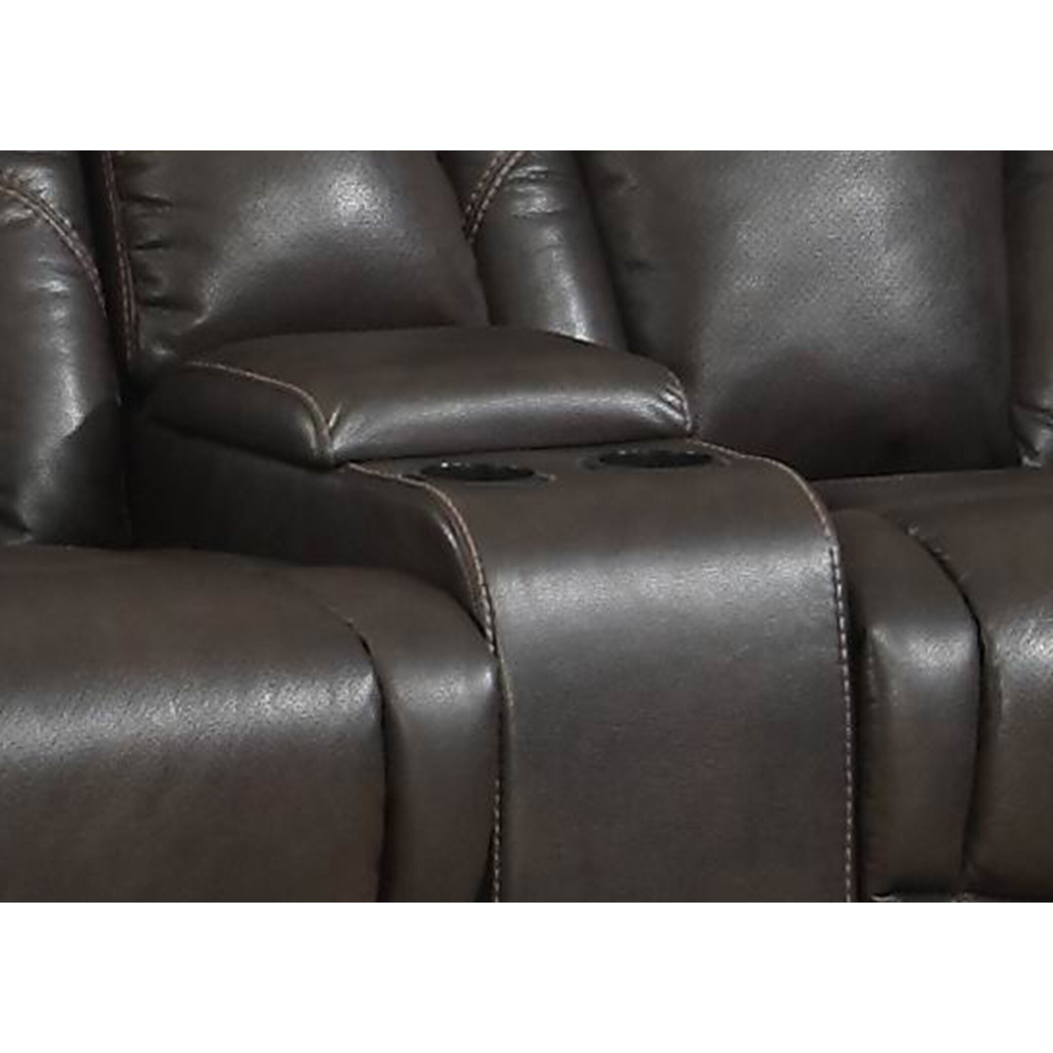 Ac pacific otto transitional reclining loveseat with storage console and cup holders reviews Loveseat with cup holders