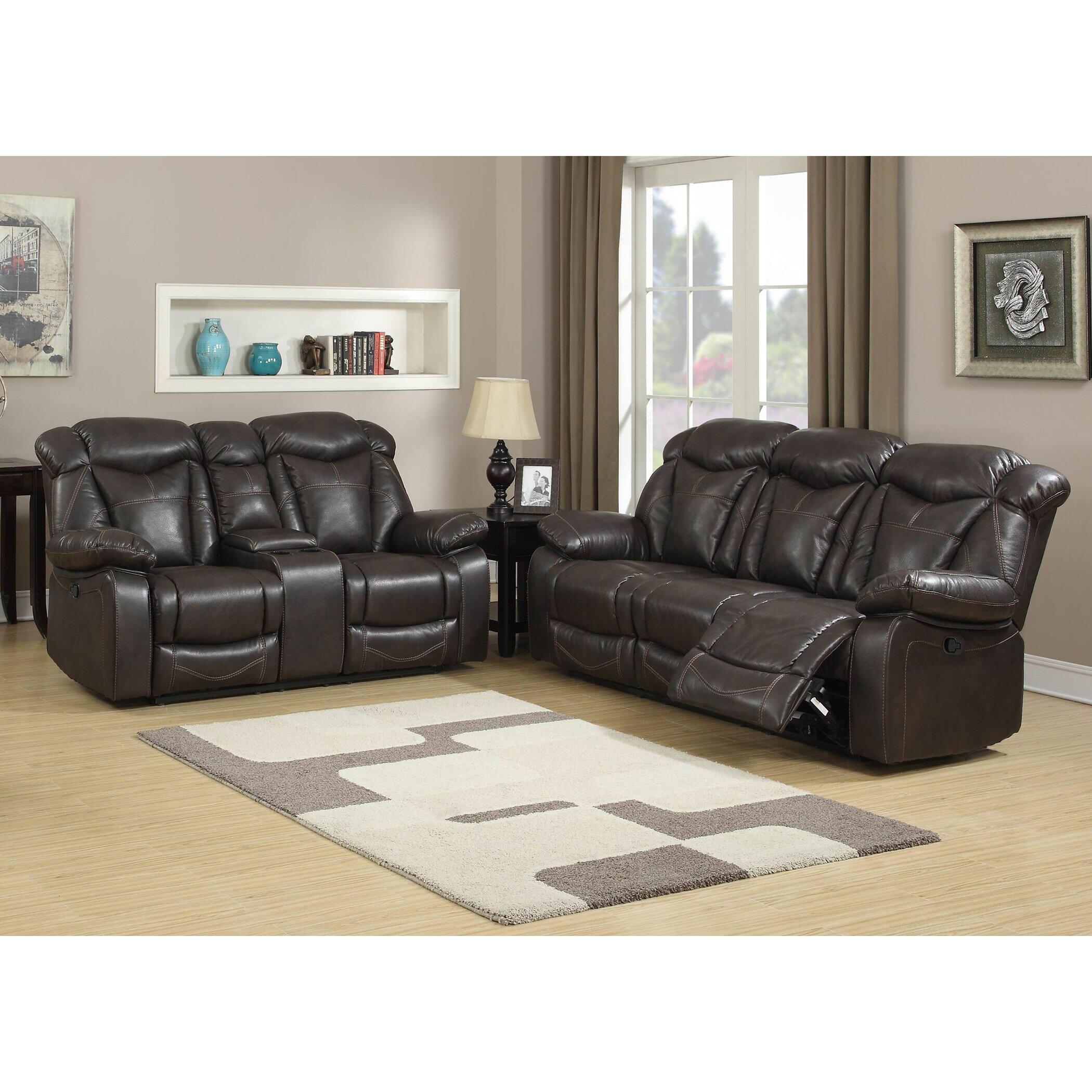 Ac pacific otto contemporary 2 piece living room set wayfair for 2 piece furniture set