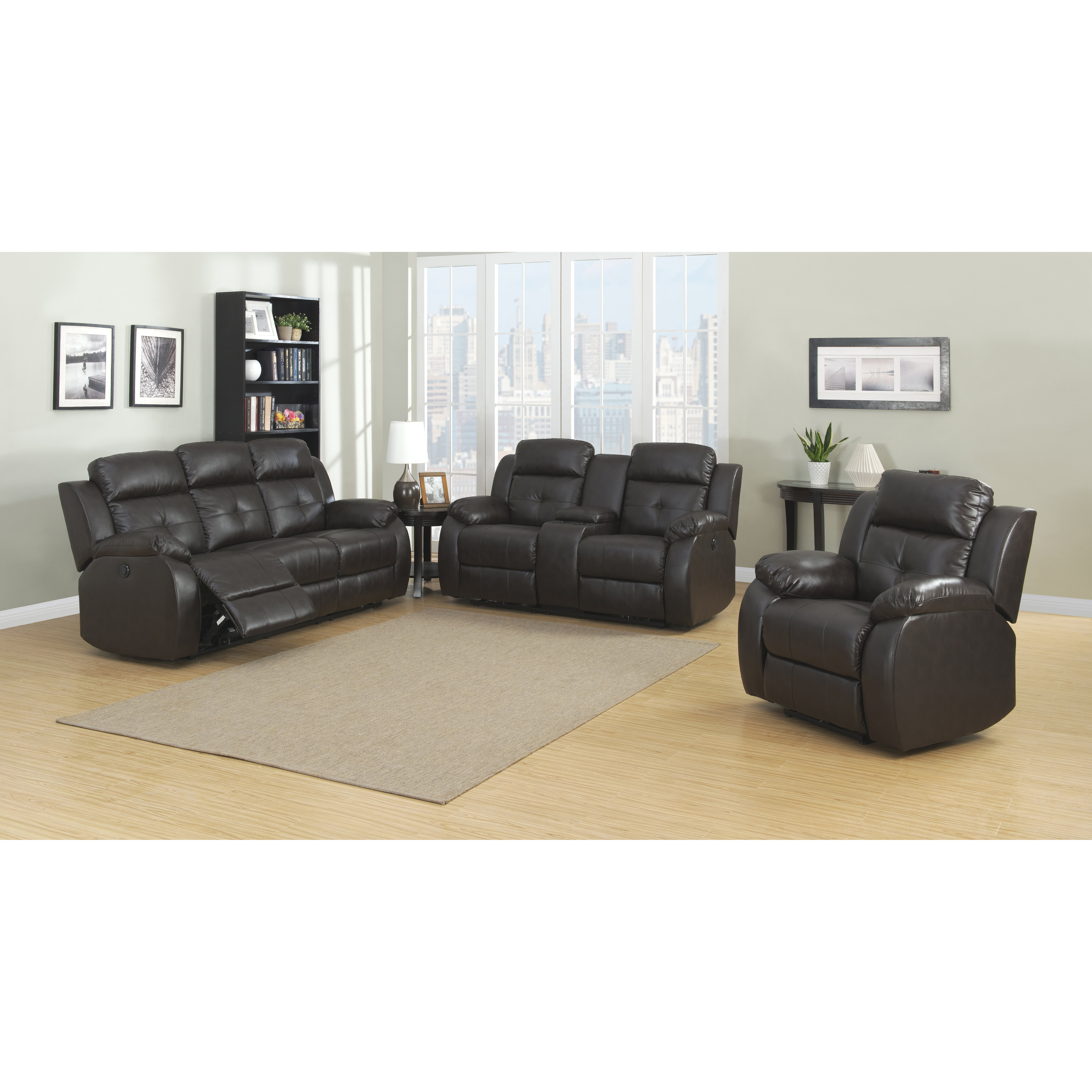 3 Piece Living Room Set Of Ac Pacific Troy Power 3 Piece Reclining Living Room Set