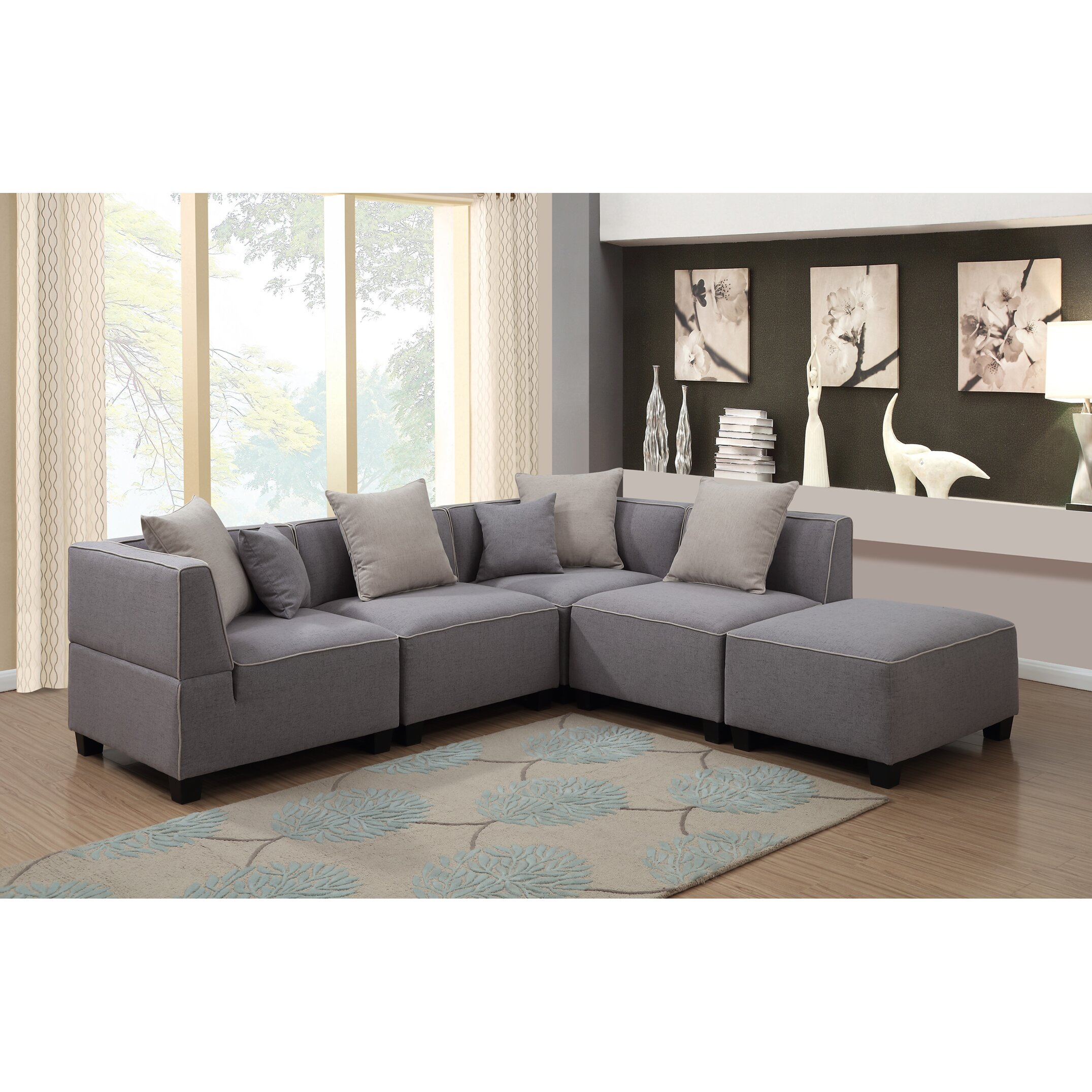 AC Pacific Holly Modern 5 Piece Tuxedo L Shaped Modular Sectional JYQ1718