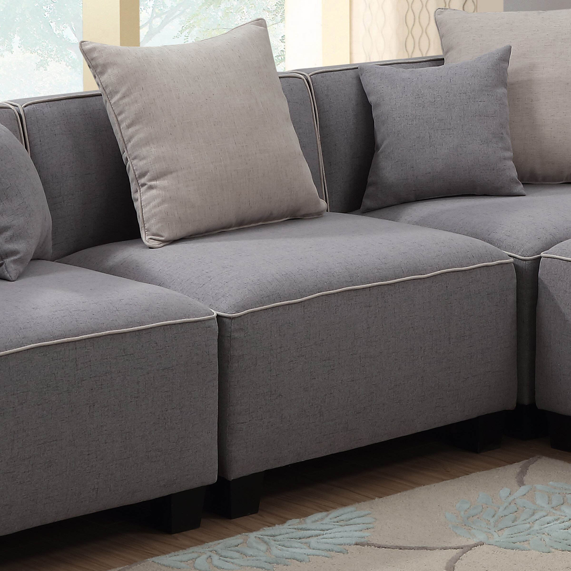 Modular Sectional Sofa Small Spaces: AC Pacific Holly Modern 5 Piece Tuxedo L Shaped Modular