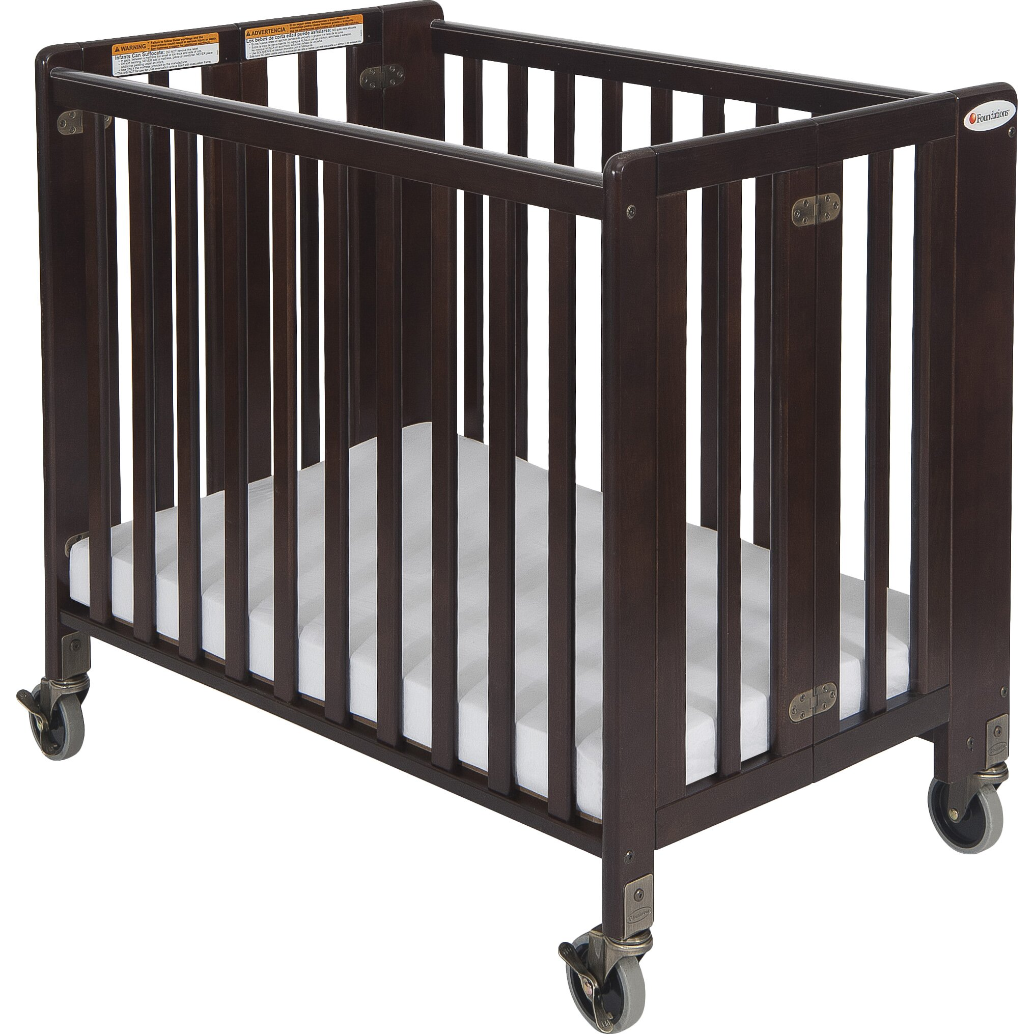 Foundations Hideaway Storable Wood Convertible Crib with