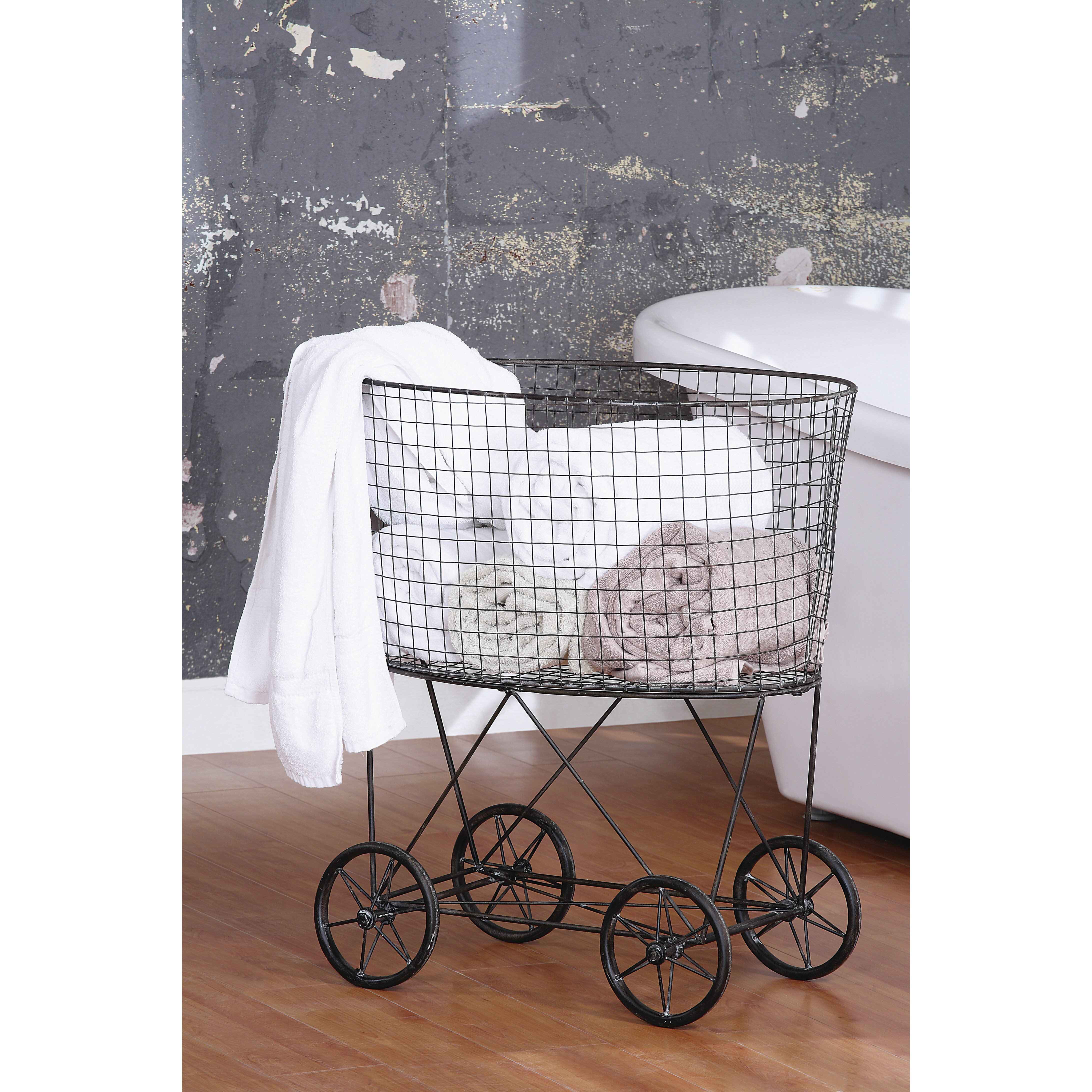 Creative co op casual country metal vintage laundry basket for Laundry room baskets with wheels