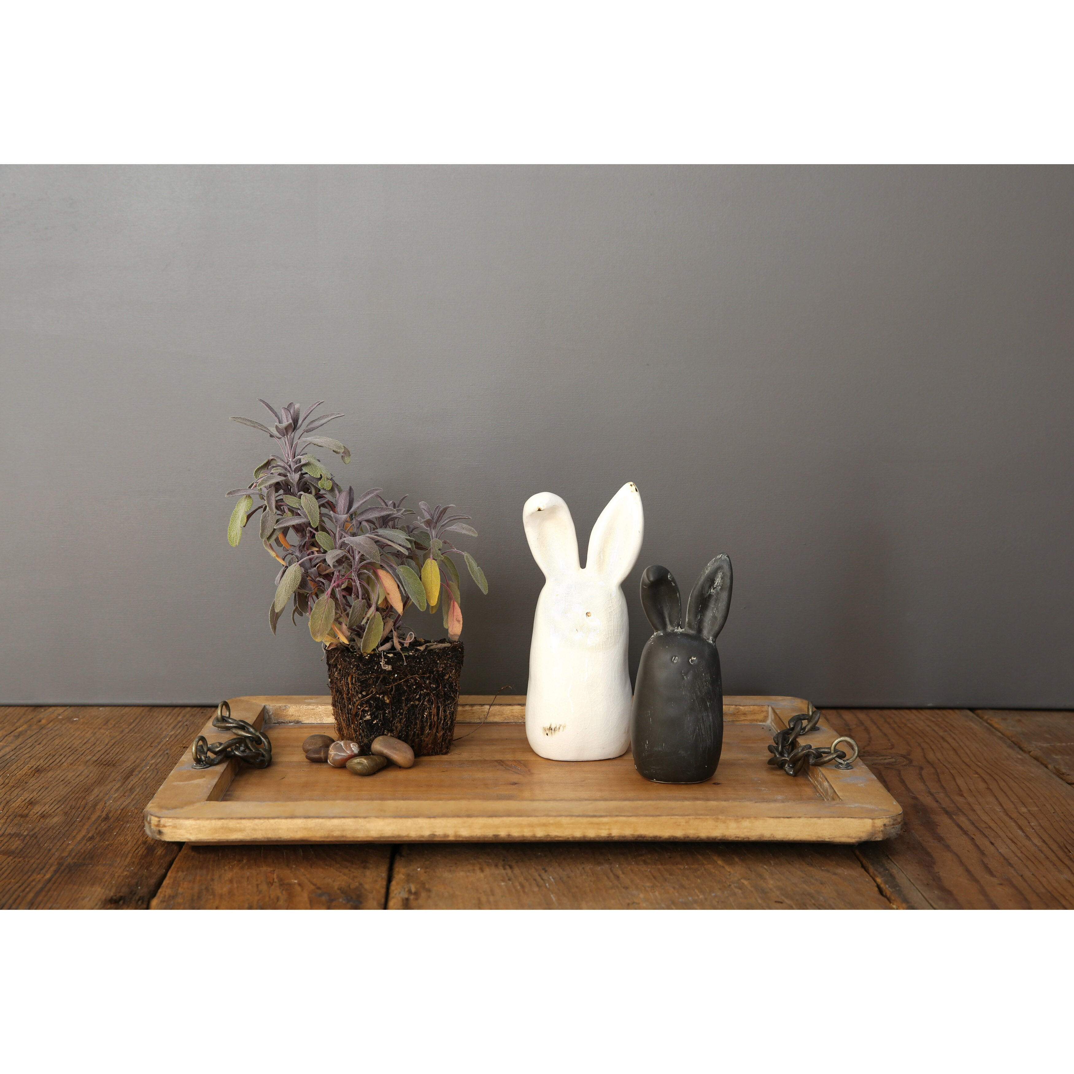 Creative Co Op Smudge 2 Piece Stoneware Rabbit Figurines