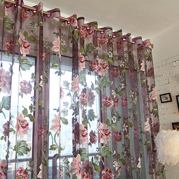 Dolce mela sheer curtain panel wayfair for Como hacer cortinas de cocina
