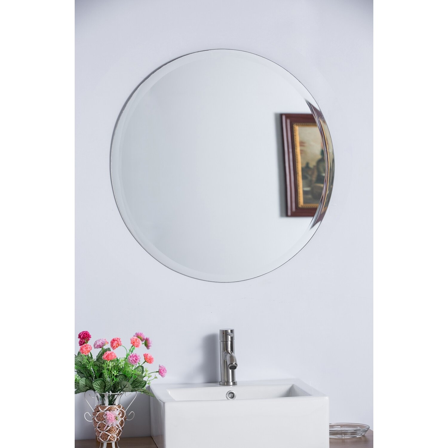 round bathroom wall mirrors bellaterra home frameless mirror amp reviews wayfair 20231