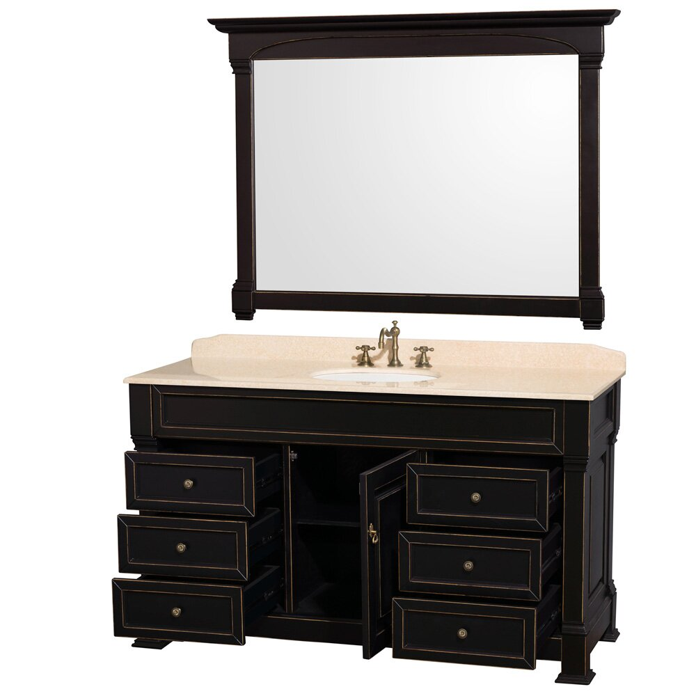 "Wyndham Collection Andover 60"" Single Black Bathroom"
