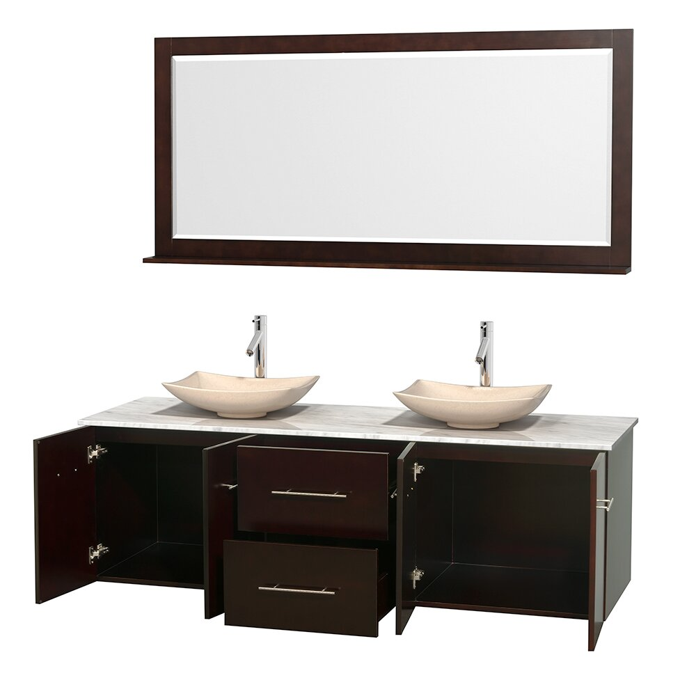 Wyndham Collection Centra 72 Double Bathroom Vanity Set With Mirror W