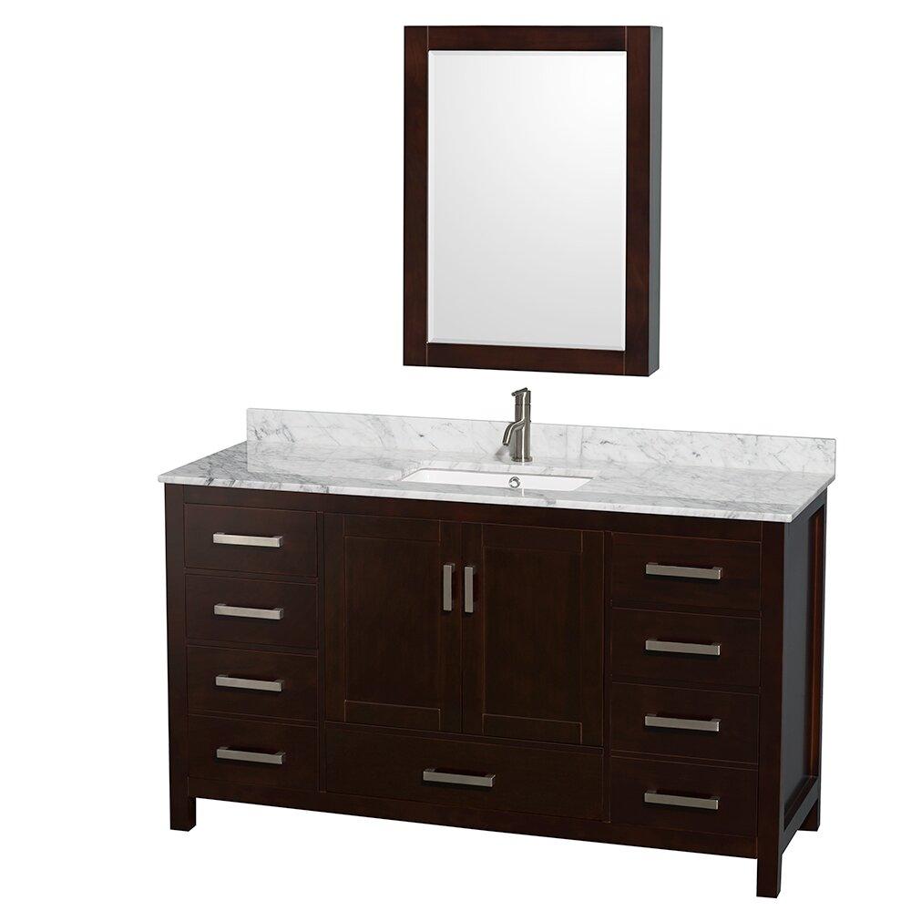 Wyndham Collection Sheffield 60 Single Bathroom Vanity Set With Medicine Cabinet Mirror