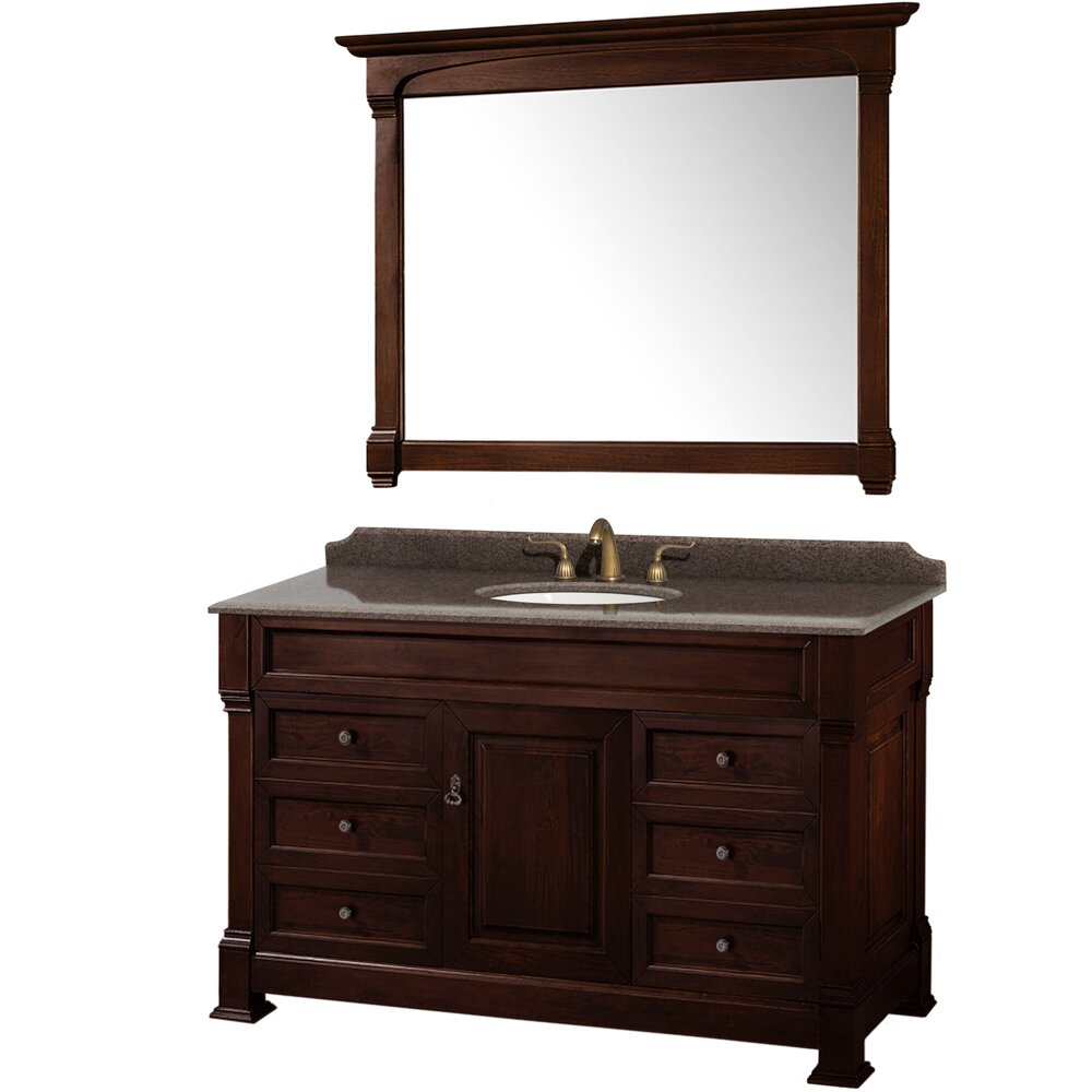 Wyndham collection andover 55 single bathroom vanity set for Mirrored bathroom set