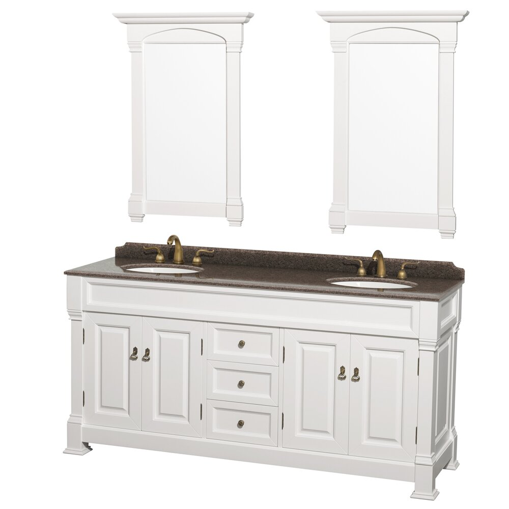 Wyndham Collection Andover 72 Double White Bathroom Vanity Set With Mirror Wayfair