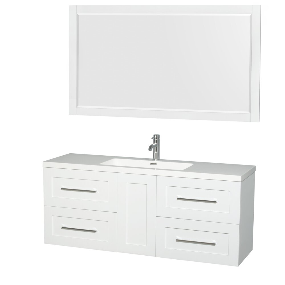 wyndham collection 60 quot single glossy white bathroom vanity set with mirror wayfair ca