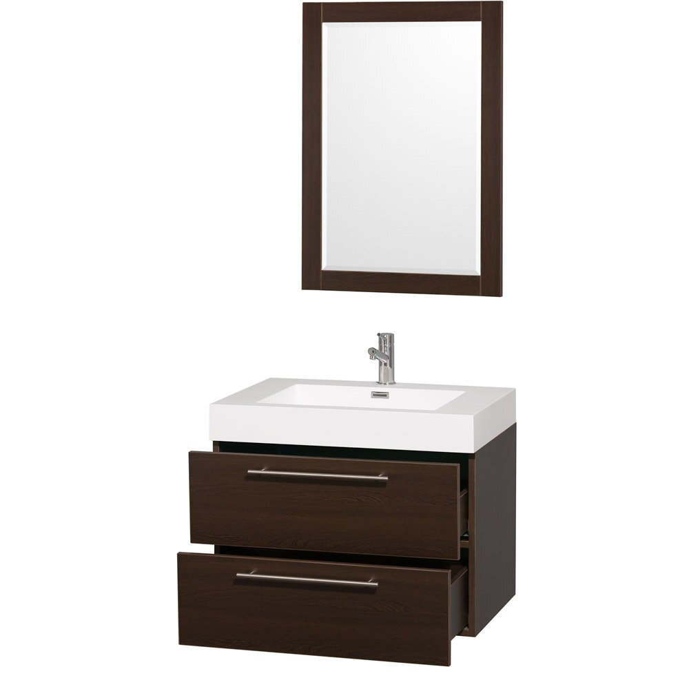 Wyndham collection amare 29 single bathroom vanity set for Bathroom mirror set