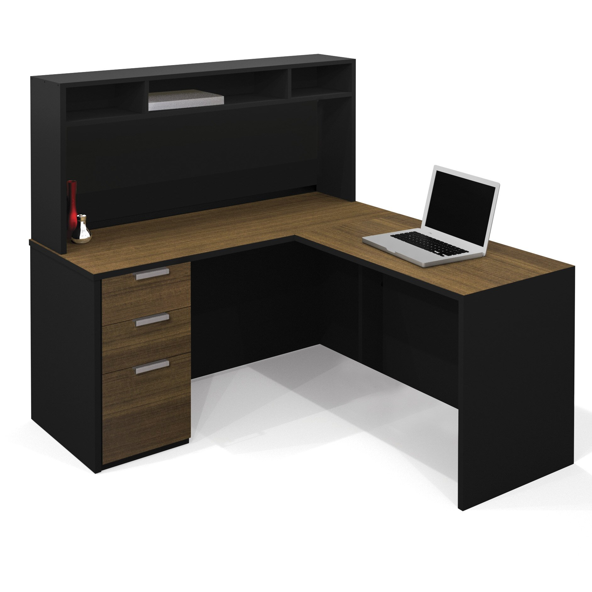 Bestar Pro Concept L Shape Desk fice Suite with Hutch
