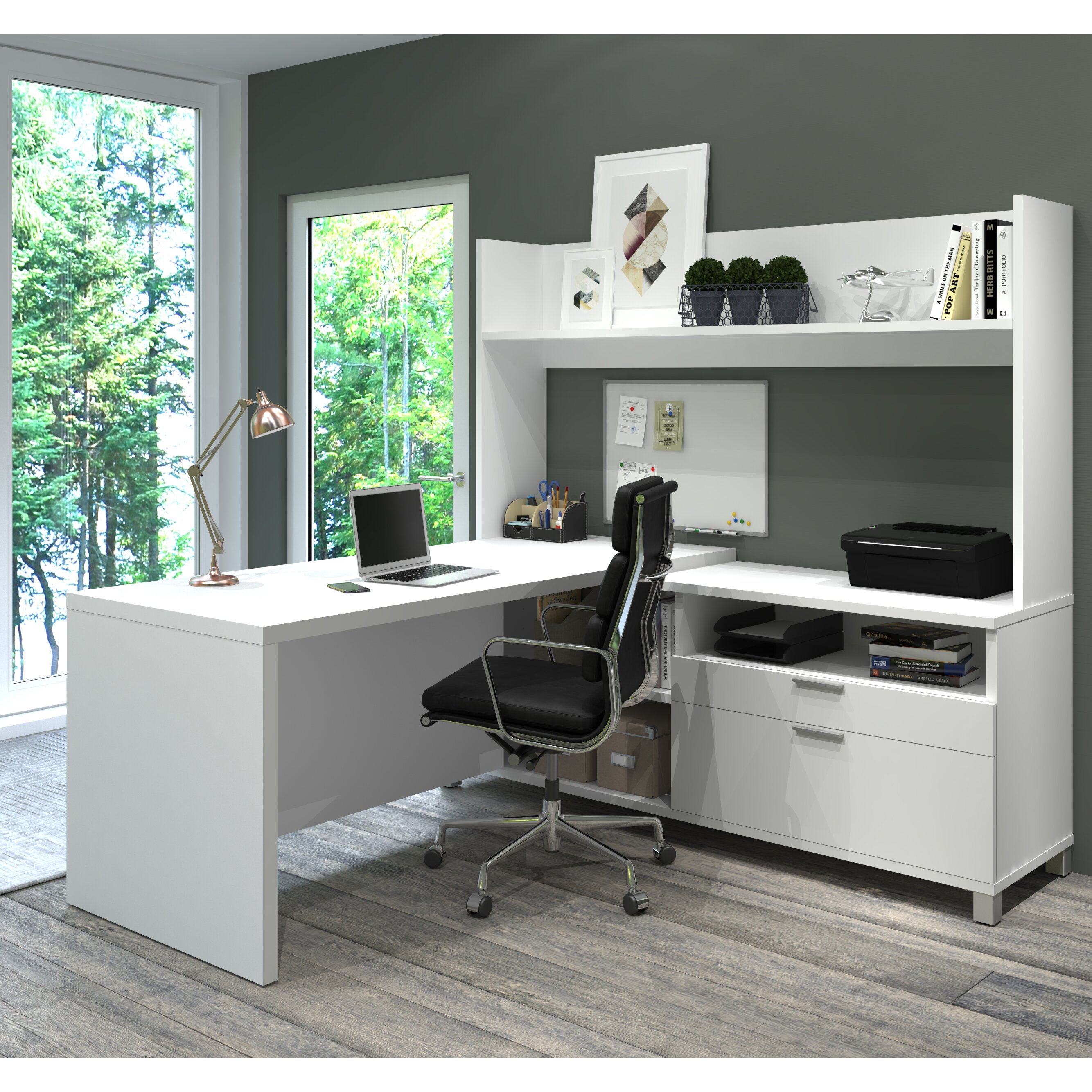 Bestar Pro Linea L Shape Executive Desk With Hutch Wayfair