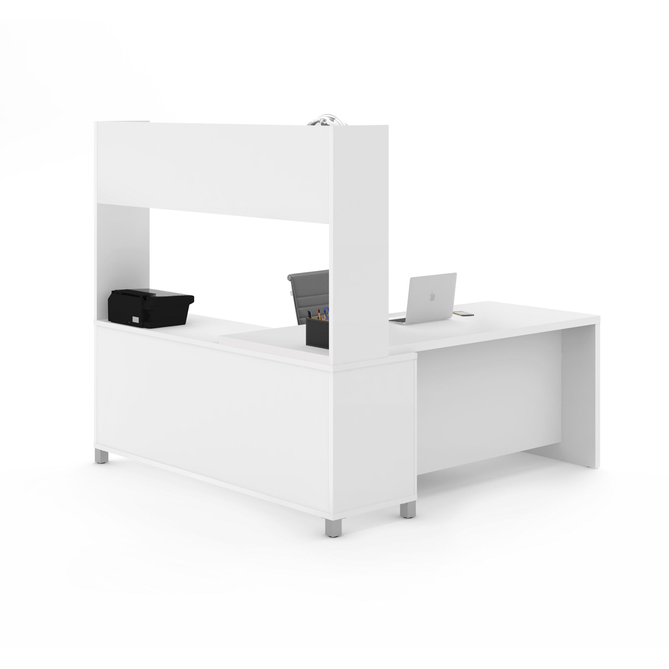 Bestar Pro Linea L Shape Executive Desk With Hutch Wayfair
