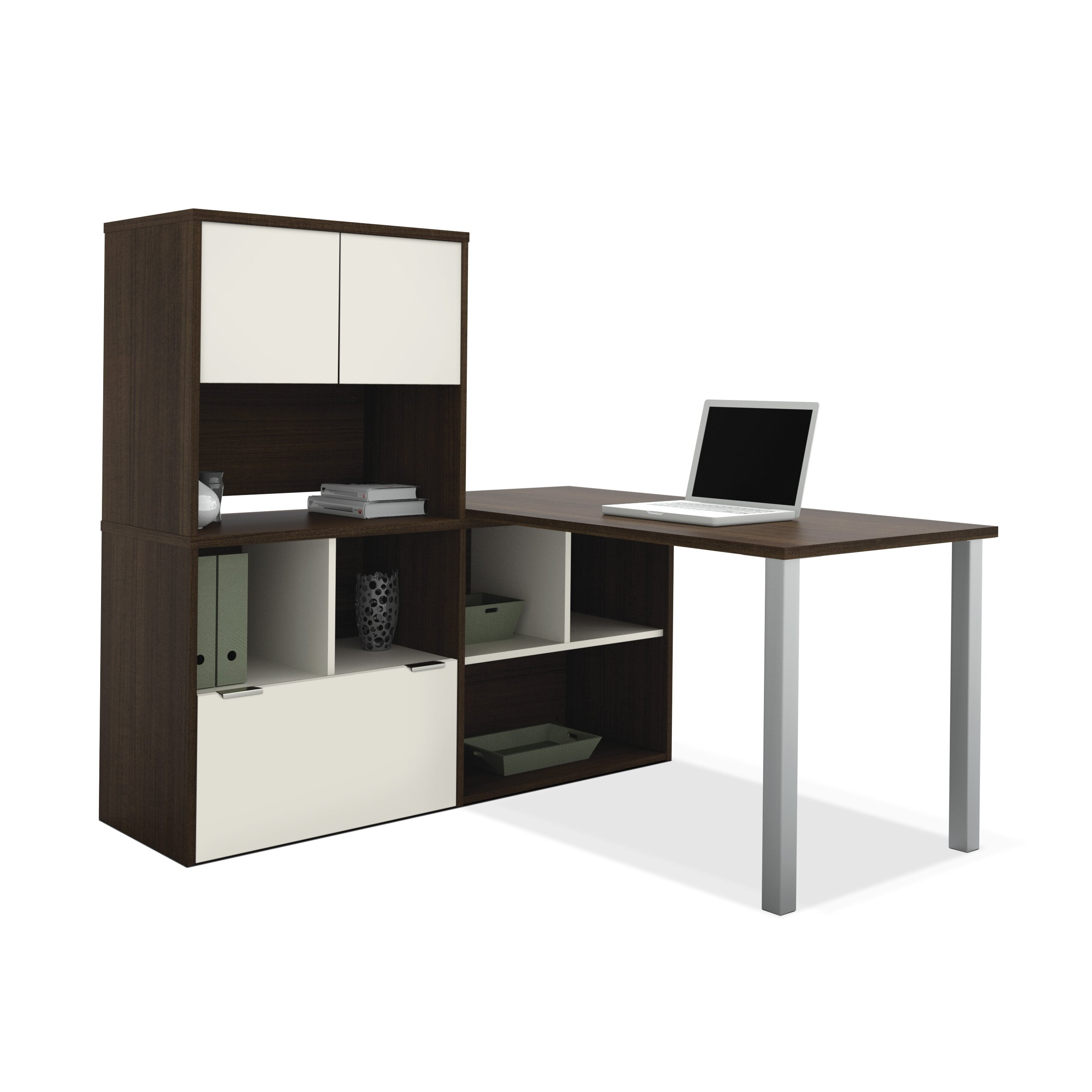 Bestar Contempo L Shaped Writing Desk With Storage Hutch