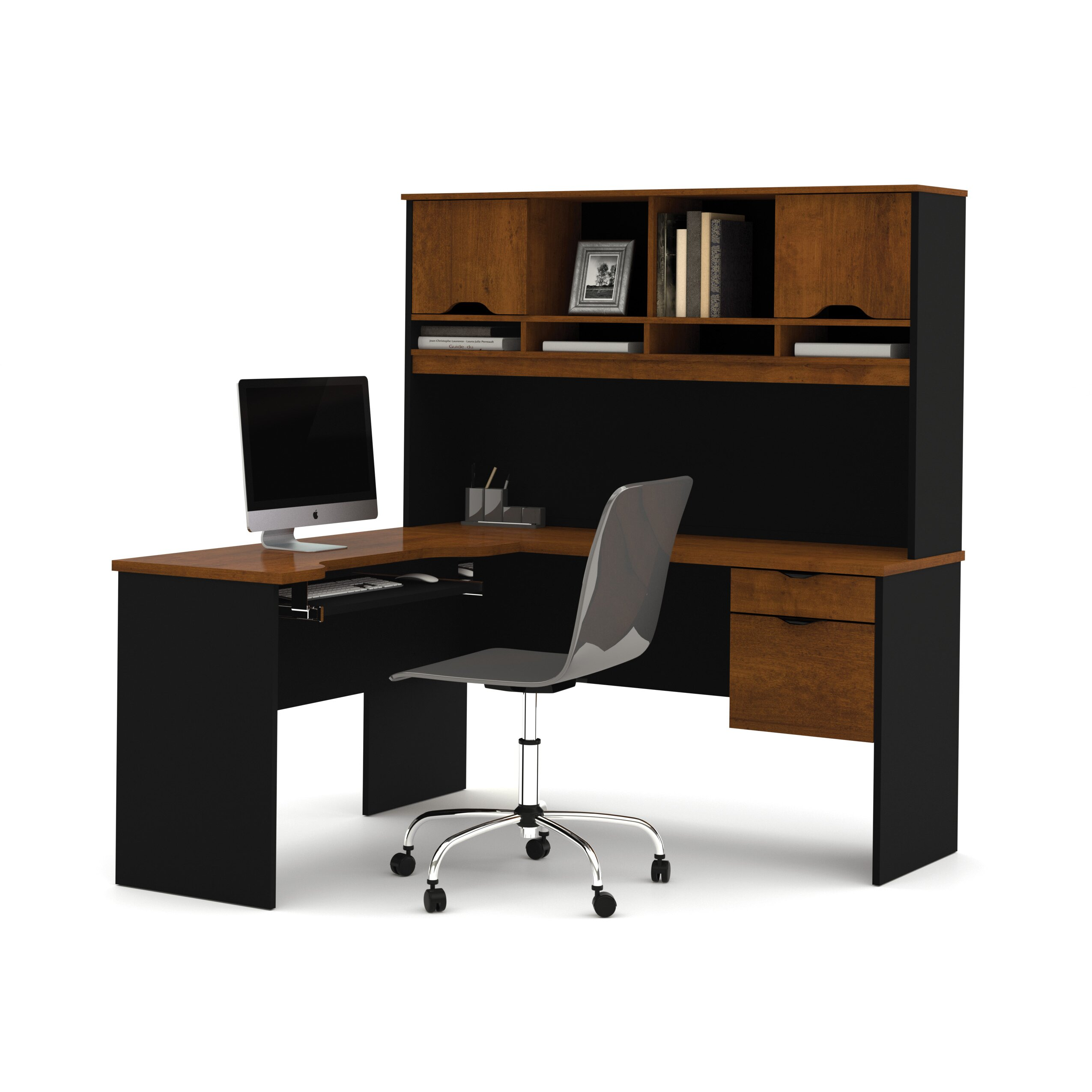 bestar innova l shape computer desk with hutch reviews wayfair. Black Bedroom Furniture Sets. Home Design Ideas