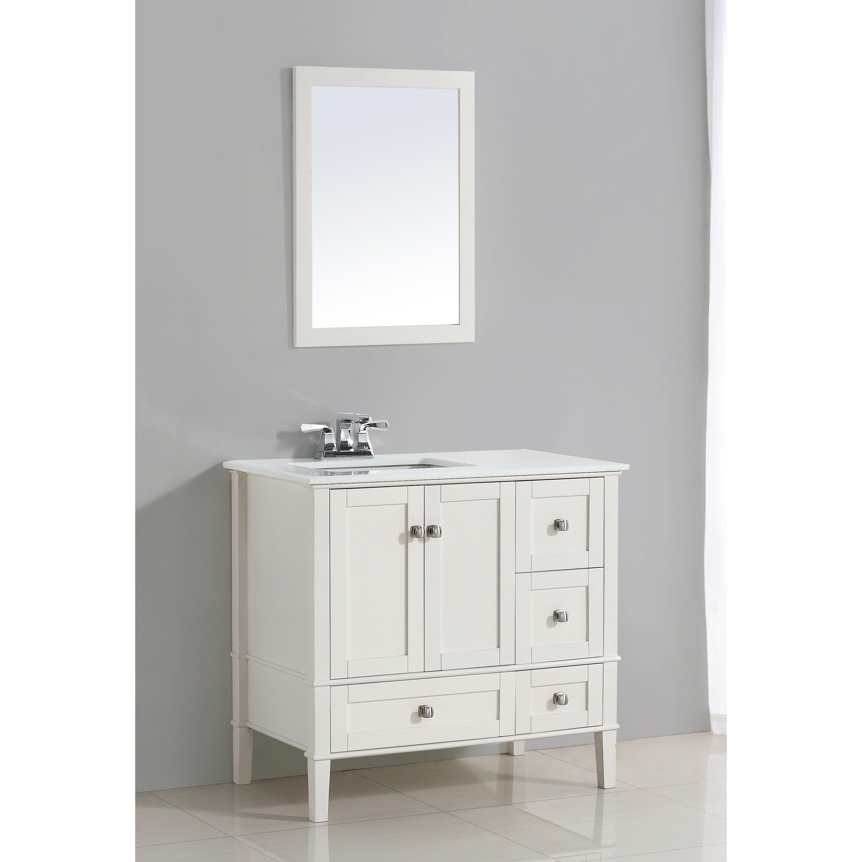 Simpli home chelsea 37 single left offset bath vanity set for Bathroom cabinets reviews