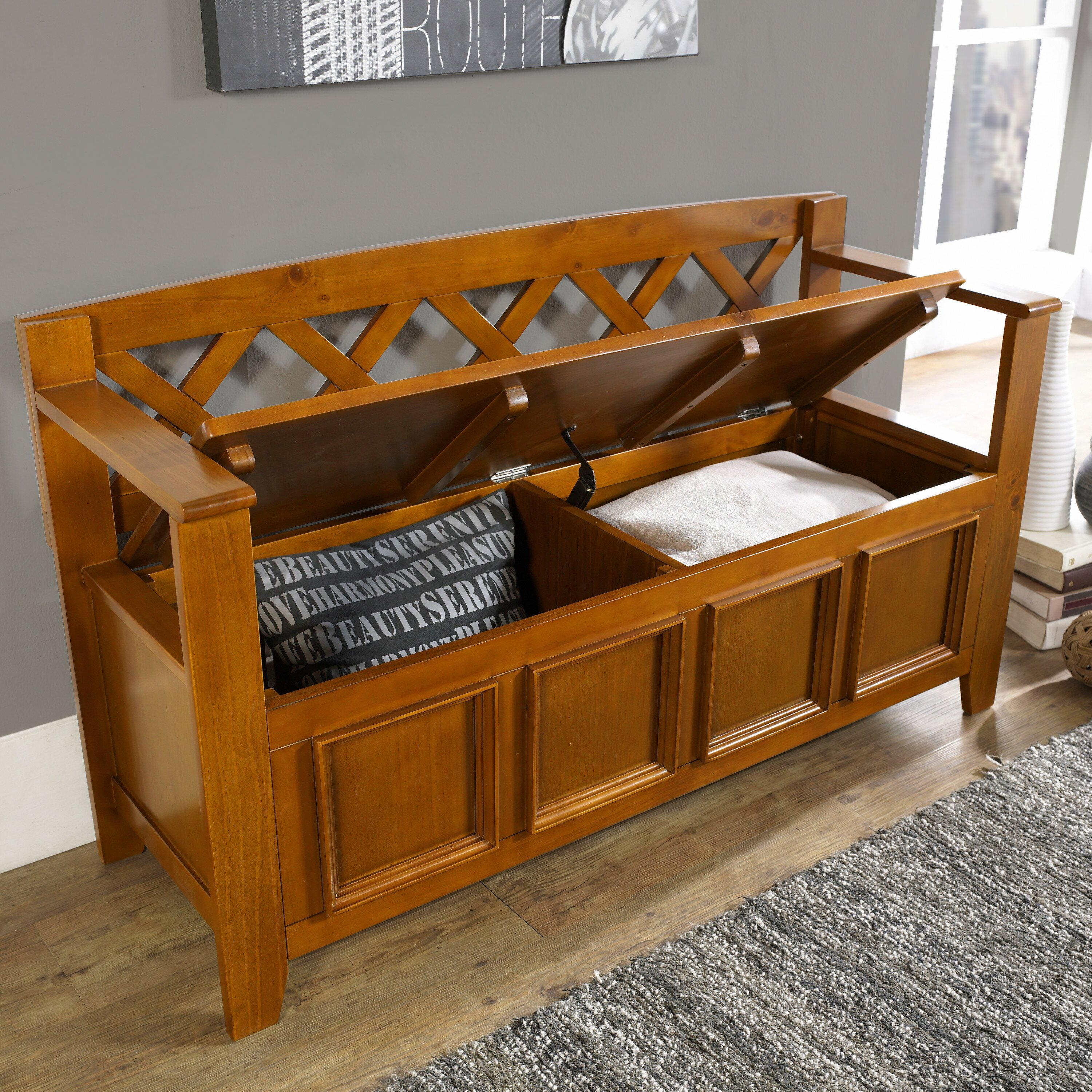 Foyer Mudroom Reviews : Simpli home amherst wood storage entryway bench reviews