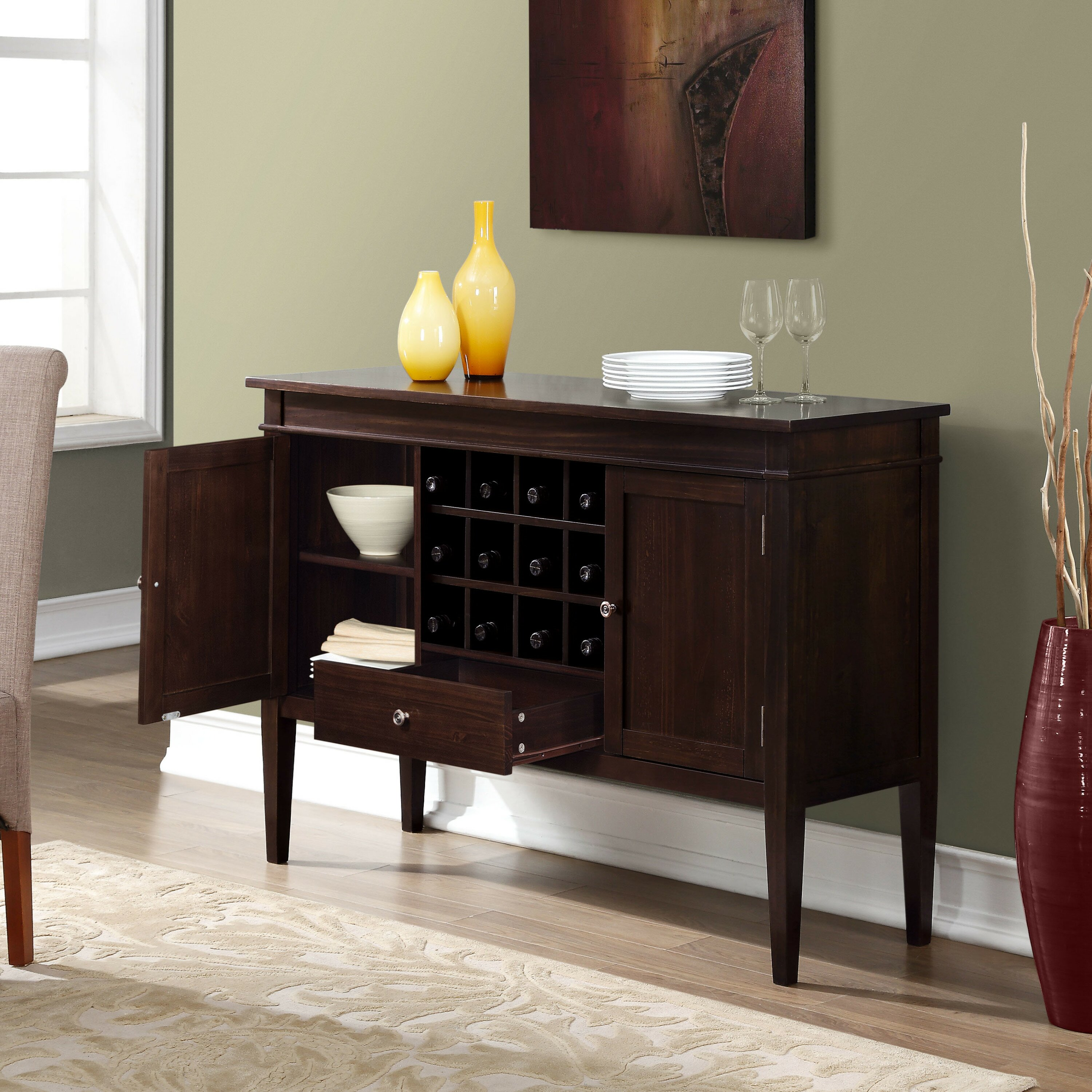 simpli home carlton sideboard buffet and wine rack