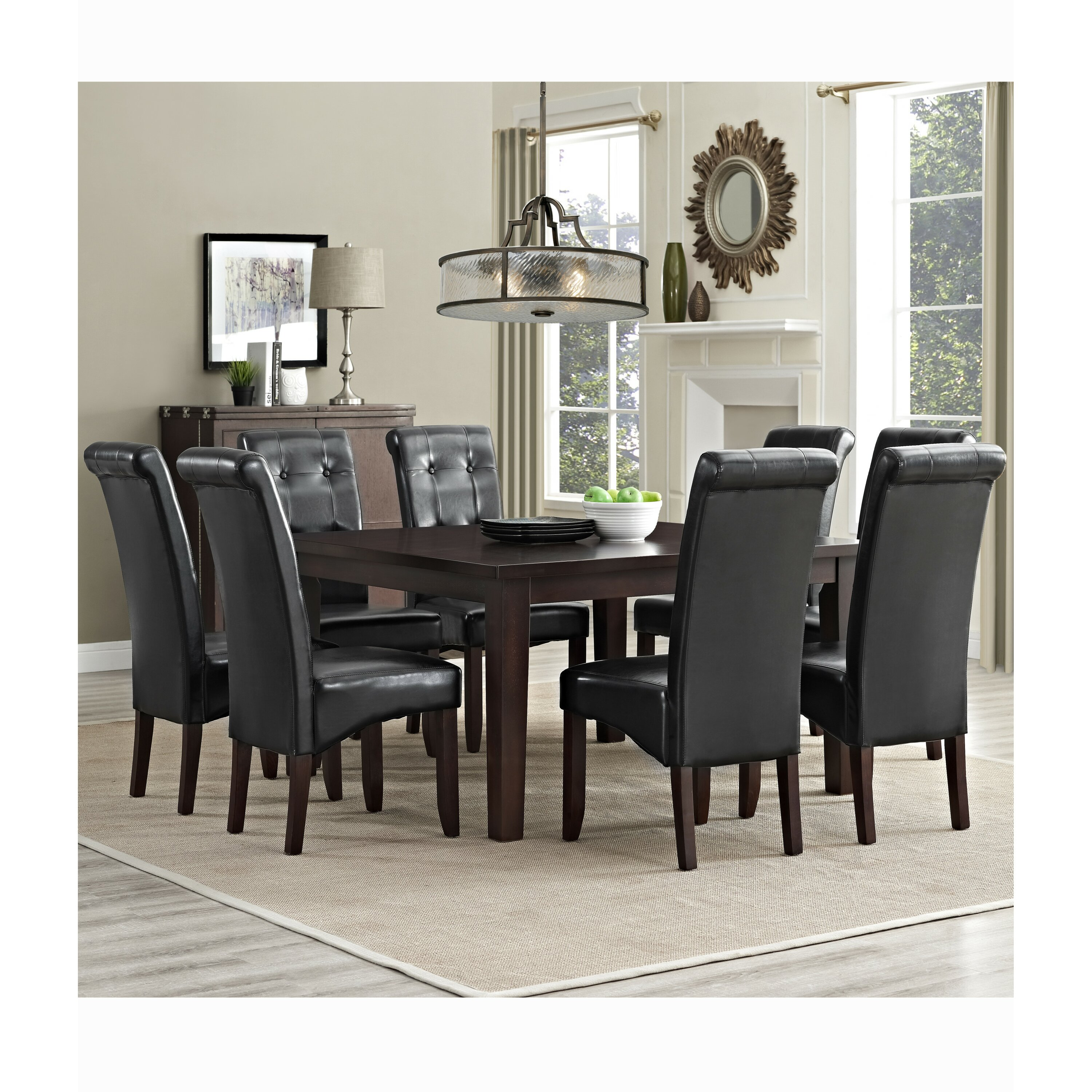 Simpli home eastwood 9 piece dining set reviews wayfair for 9 piece dining room sets square