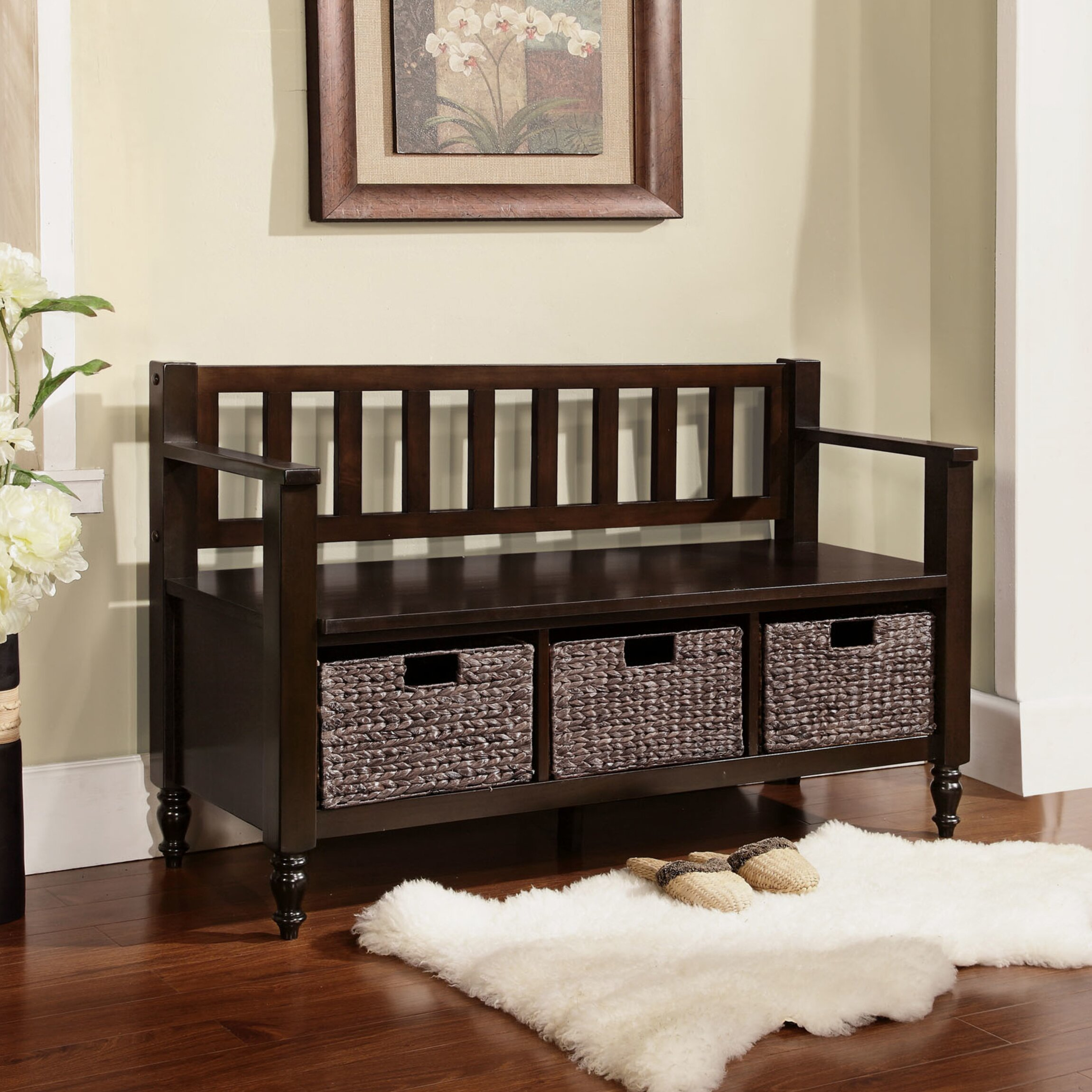 Simpli home dakota entryway bench reviews wayfair for Foyer seating area ideas