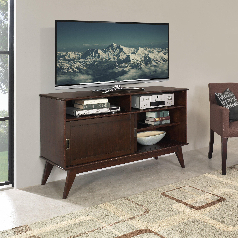 simpli home draper mid century tv stand reviews wayfair. Black Bedroom Furniture Sets. Home Design Ideas
