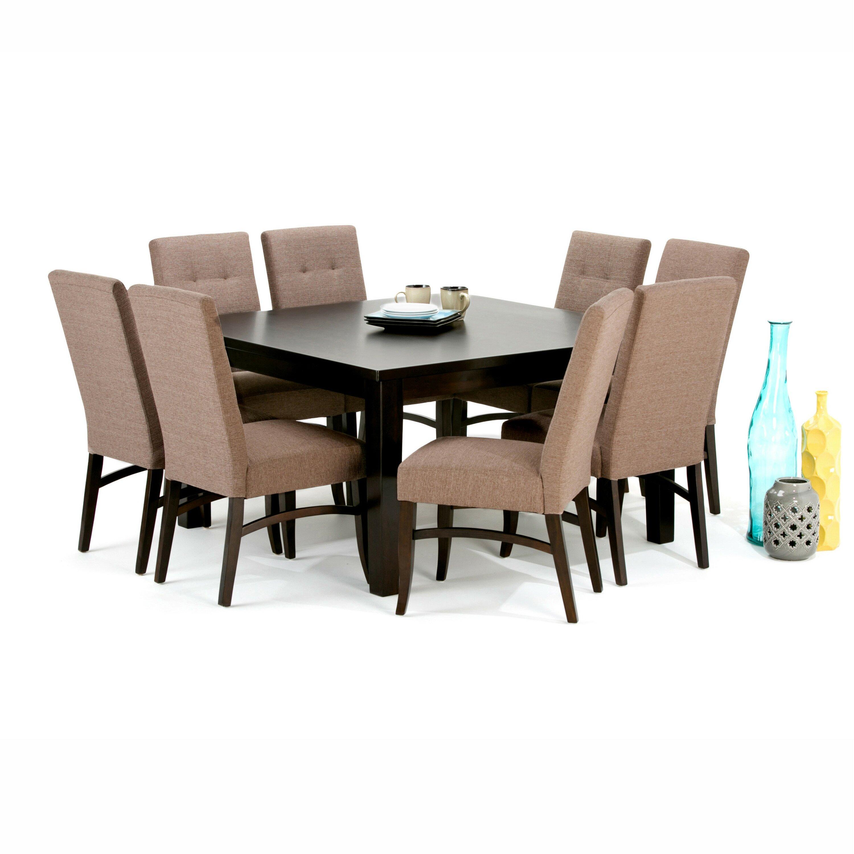 Simpli home ezra 9 piece dining set wayfair for Dining room 9 piece sets