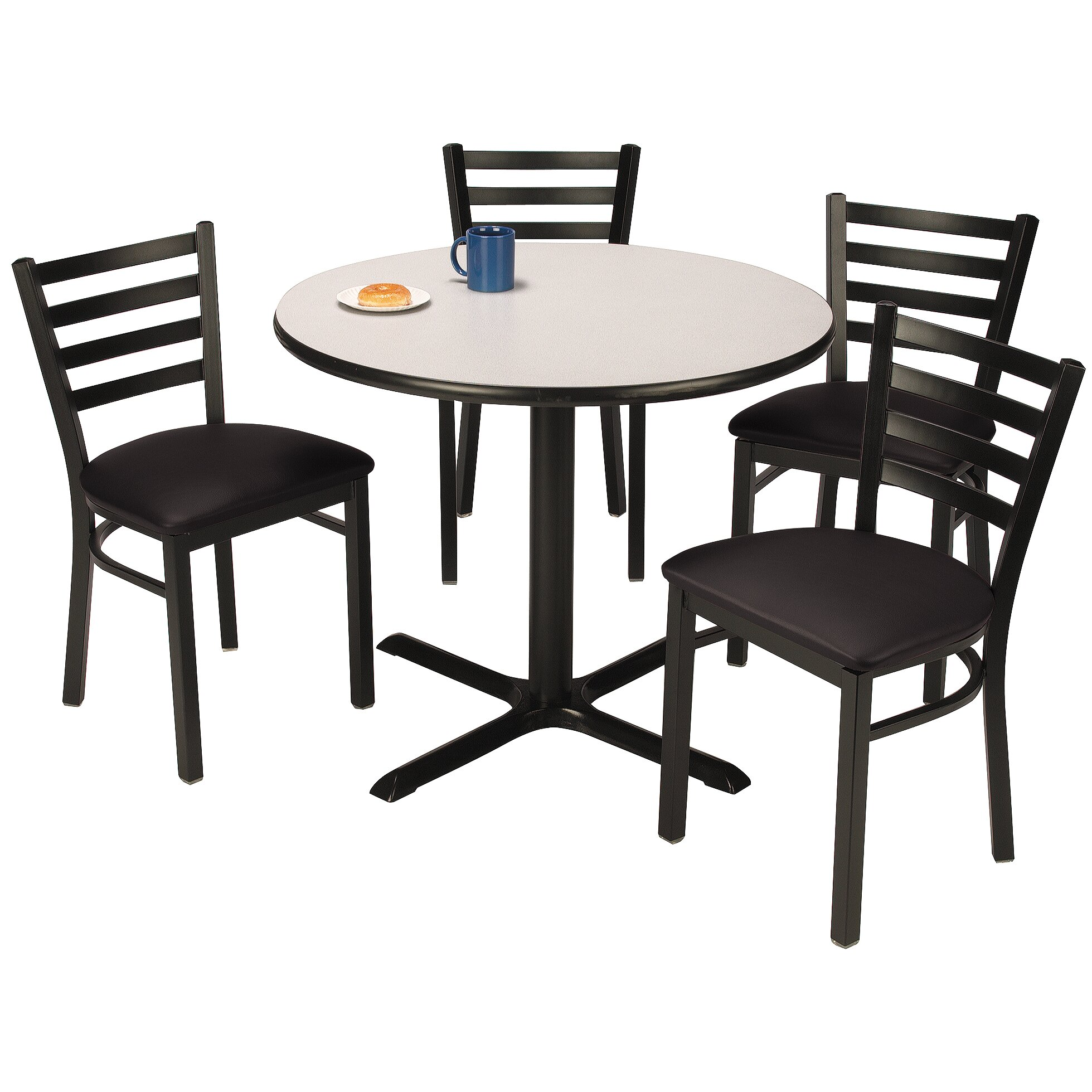 Kfi seating round cafeteria table and chair set wayfair for Table and chair set