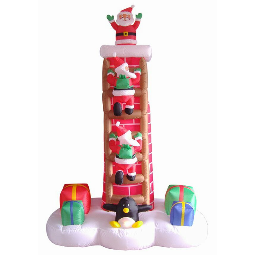 Lb international 7 39 inflatable animated santa trio on for Inflatable christmas decorations