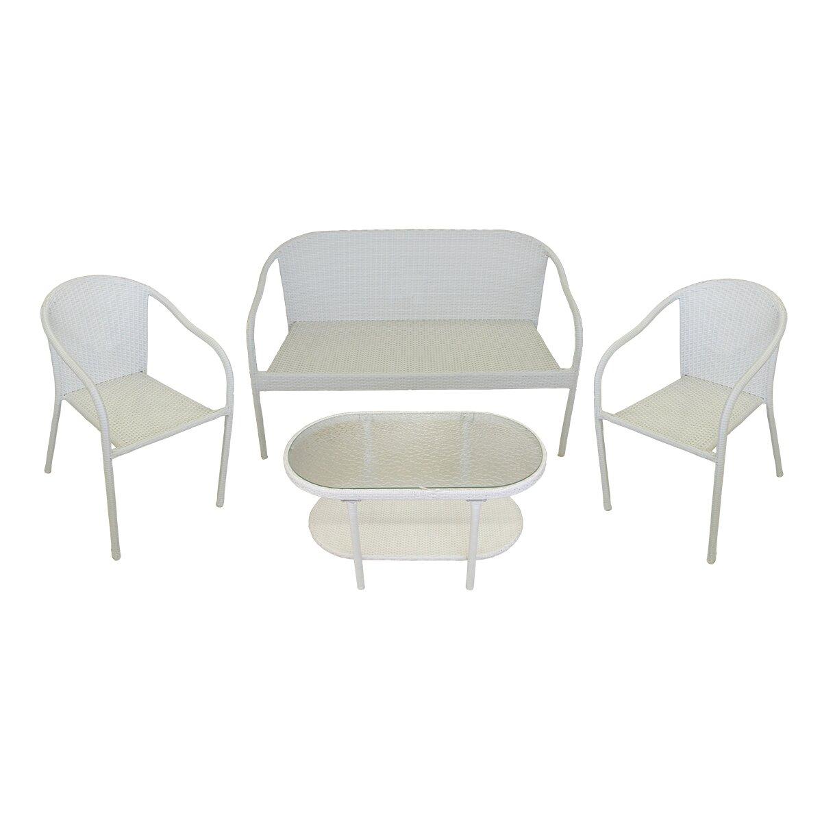 Resin Wicker Patio Furniture Sets: LB International 4 Piece Resin Wicker Patio Furniture Set