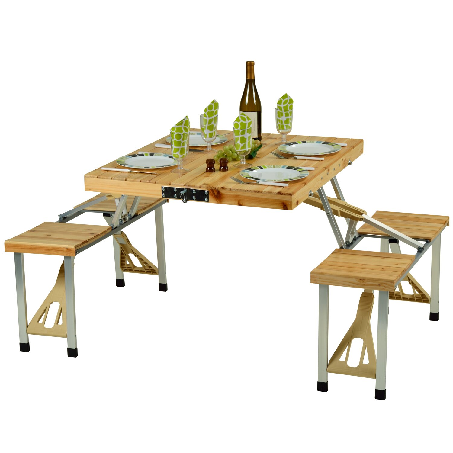picnic at ascot portable picnic table reviews wayfair. Black Bedroom Furniture Sets. Home Design Ideas
