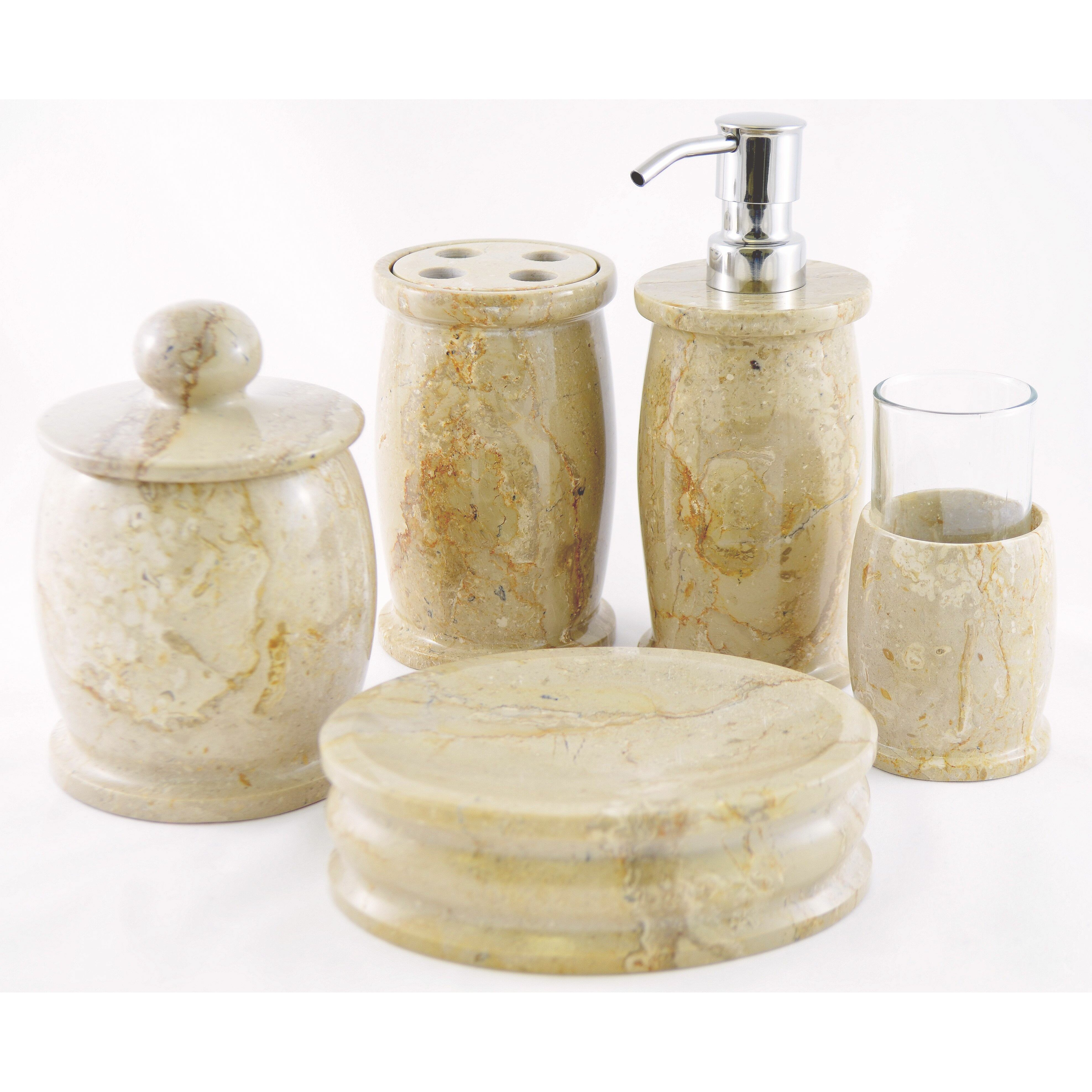 Nature home decor pacific 5 piece bathroom accessory set for Bathroom accessories set