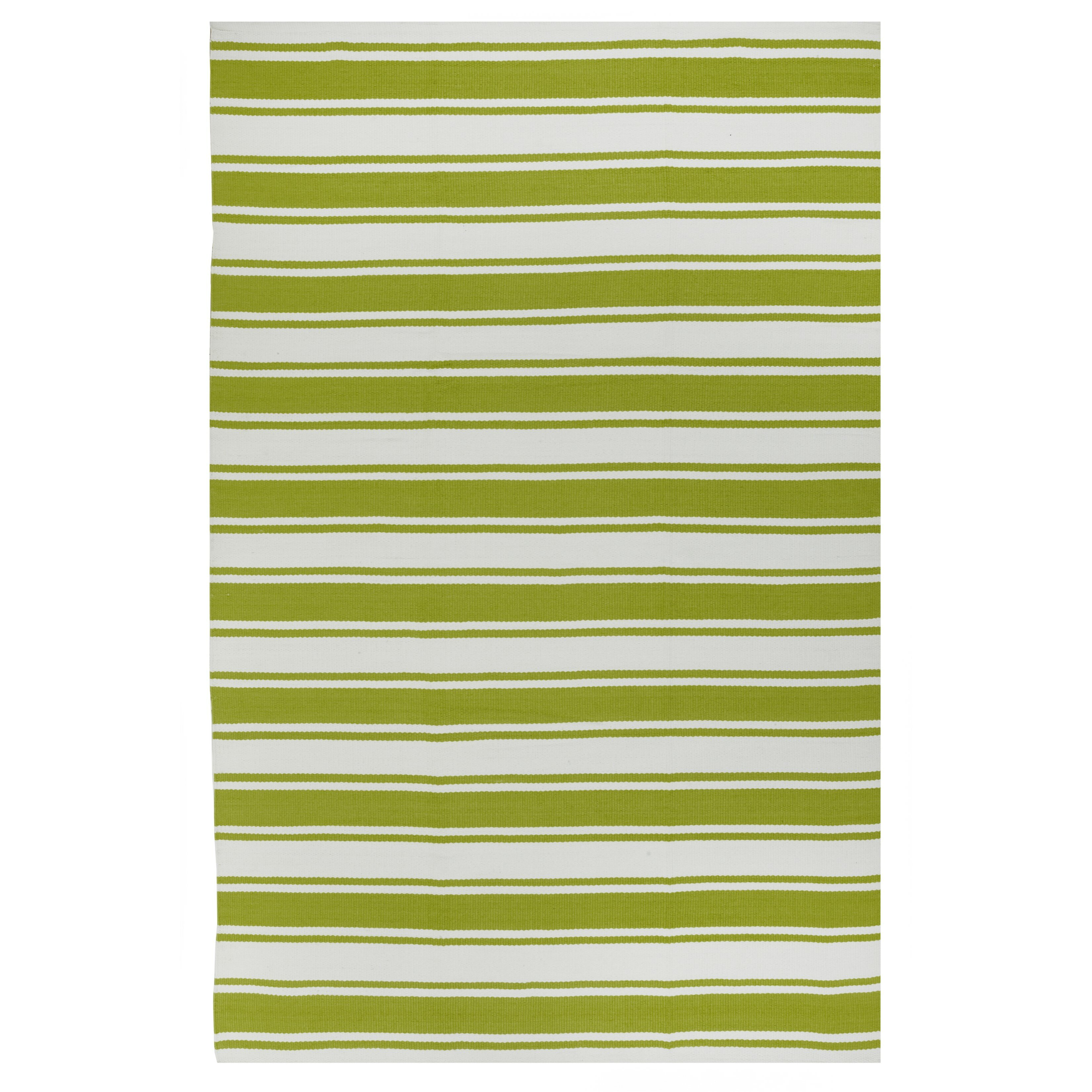 Fab Habitat Lucky Green White Striped Indoor Outdoor Area