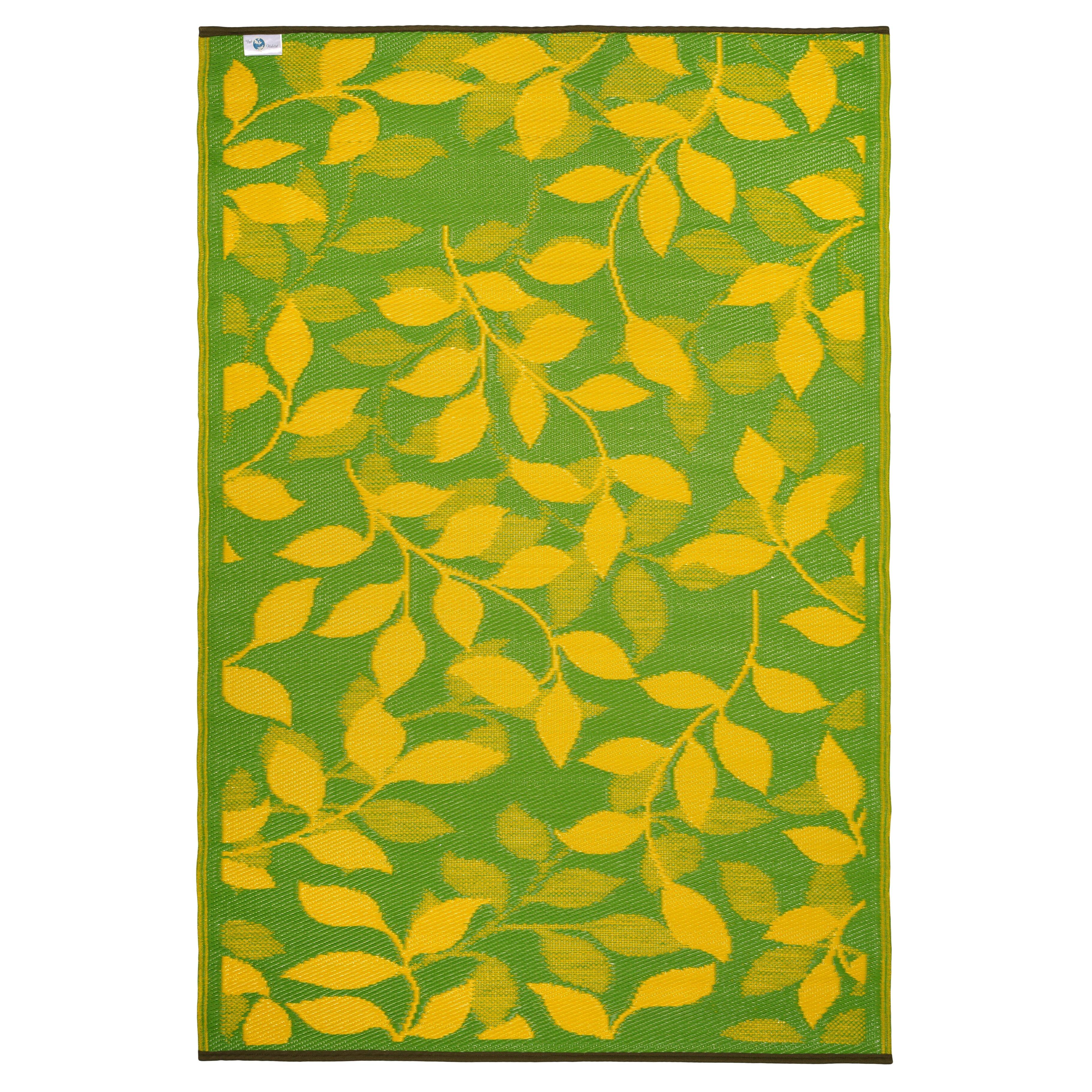 Fab Rugs World Bali Lemon Yellow Moss Green Indoor Outdoor