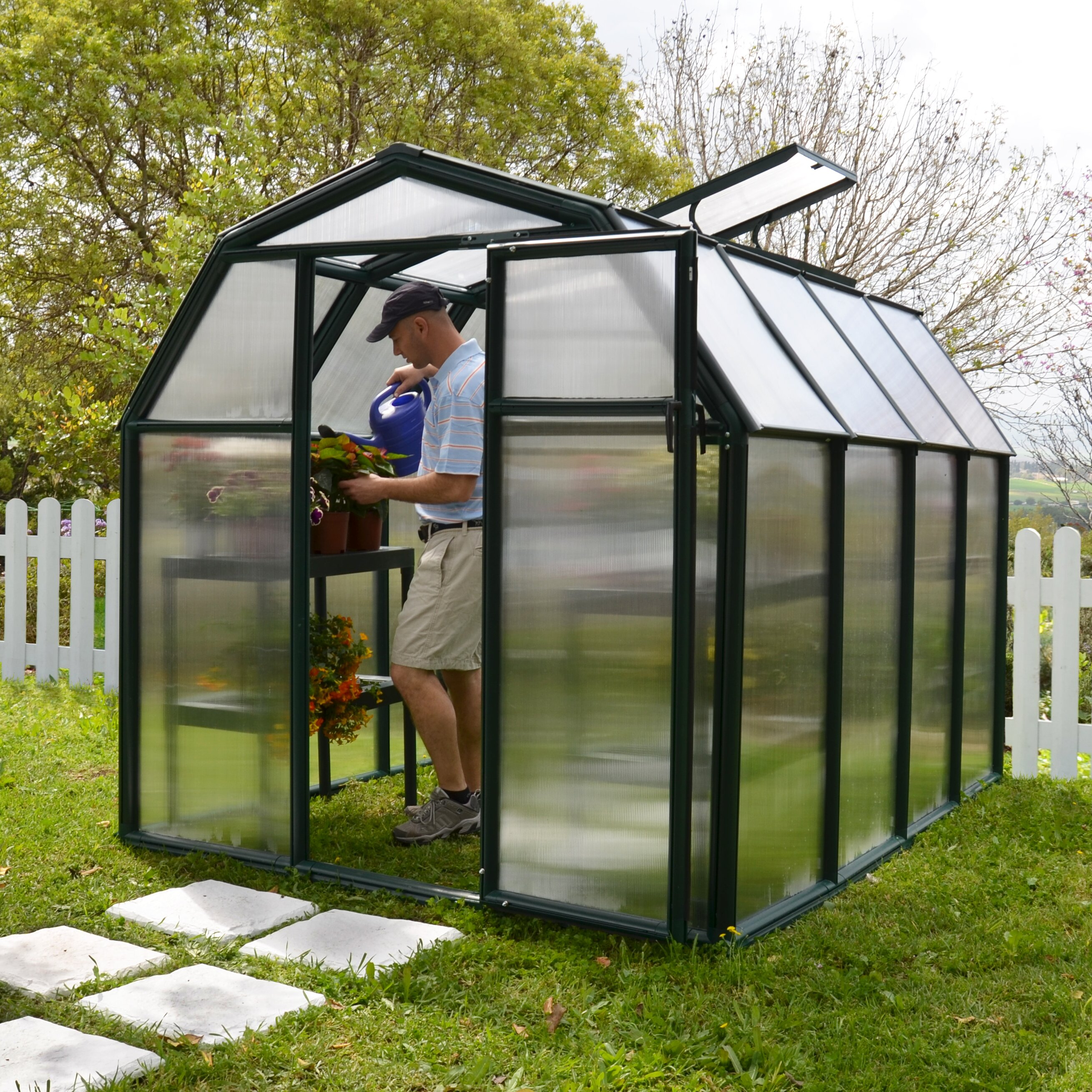 rion ecogrow 2 twin wall 6 ft w x 8 ft d greenhouse. Black Bedroom Furniture Sets. Home Design Ideas