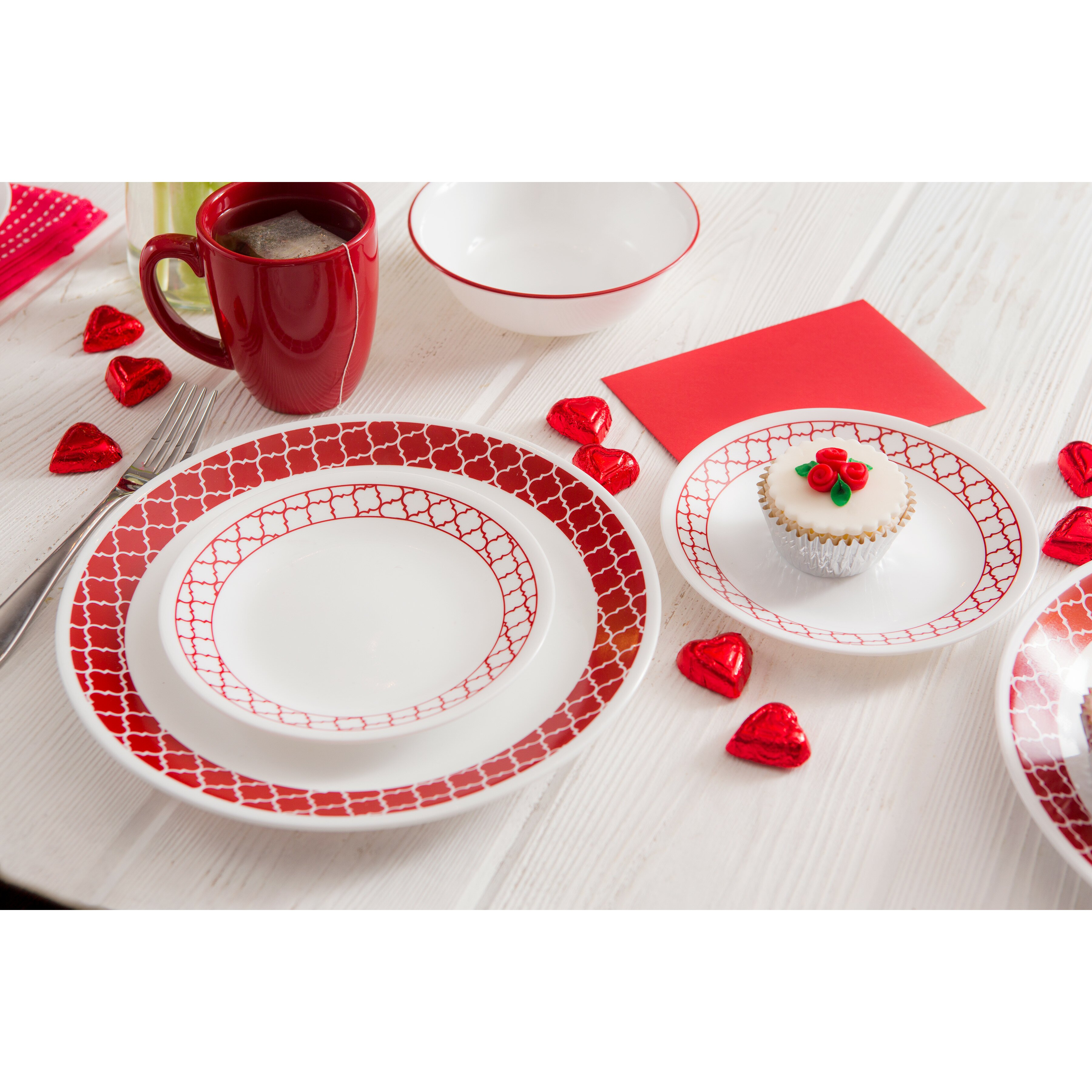 Corelle Livingware Crimson Trellis 16 Piece Dinnerware Set Reviews Wa