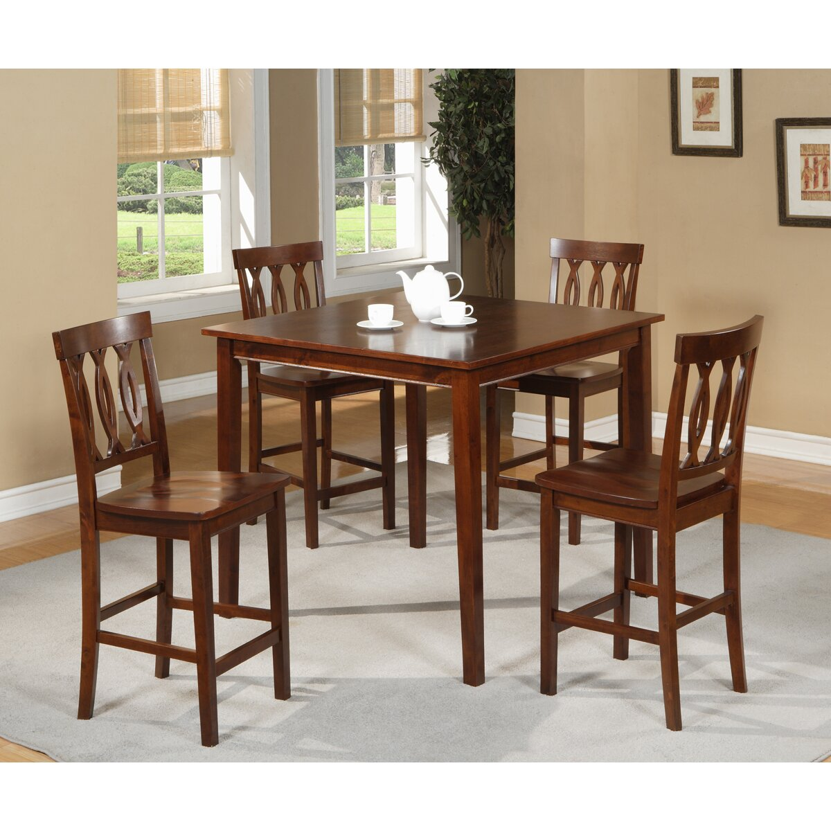 Williams import co 5 piece counter height dining set for Counter height dining set