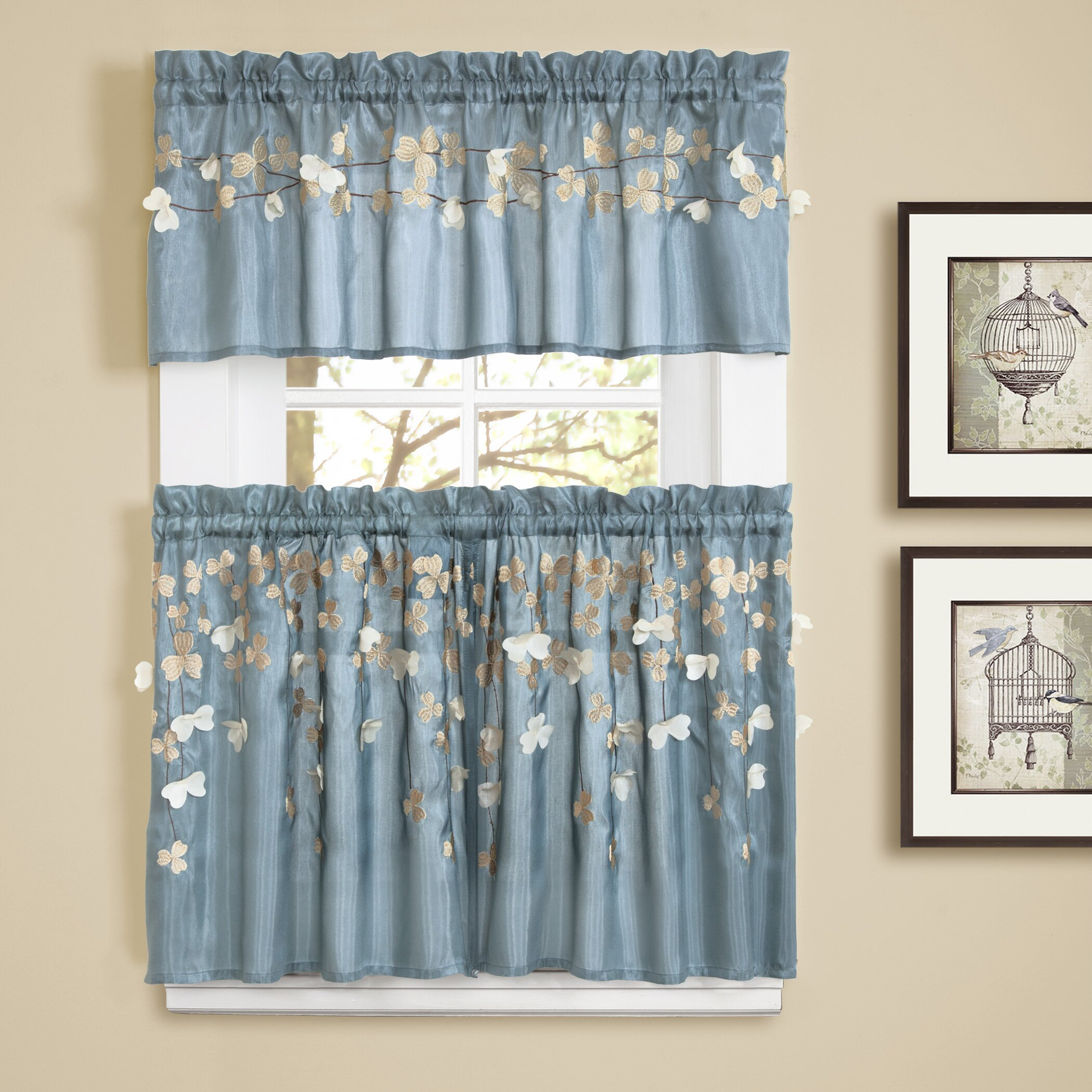 Lush decor flower rod pocket tailored kitchen 58 curtain for Valance curtains for kitchen
