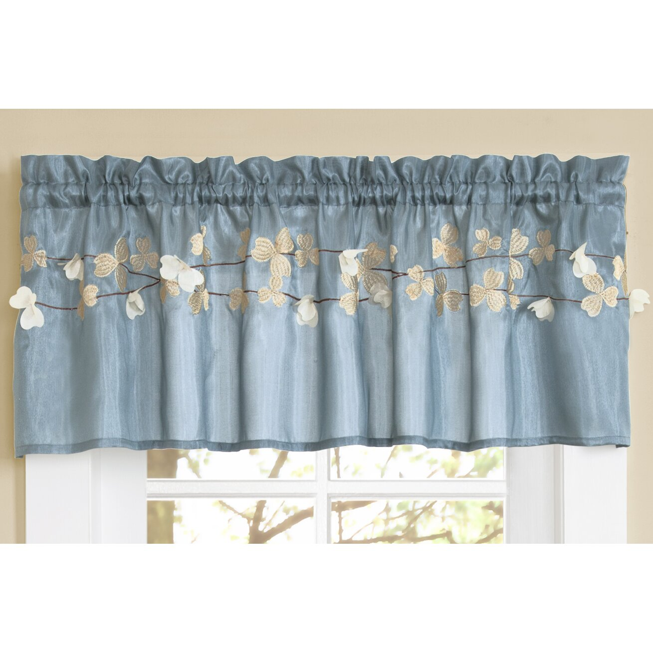 "Kitchen Curtains And Valances: Lush Decor Flower Rod Pocket Tailored Kitchen 58"" Curtain"