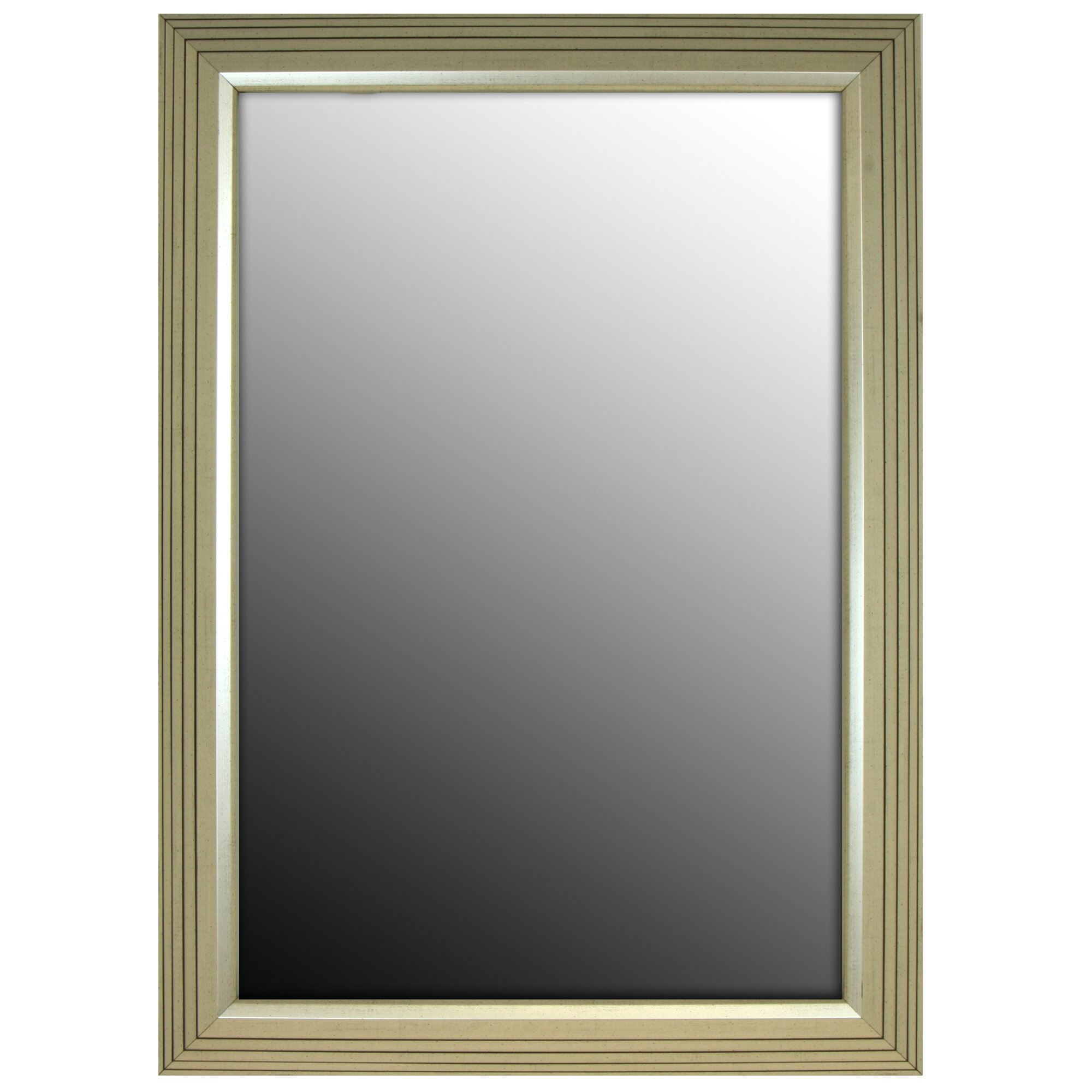 Second look mirrors stepped vintage silver petite wall for Looking for wall mirrors