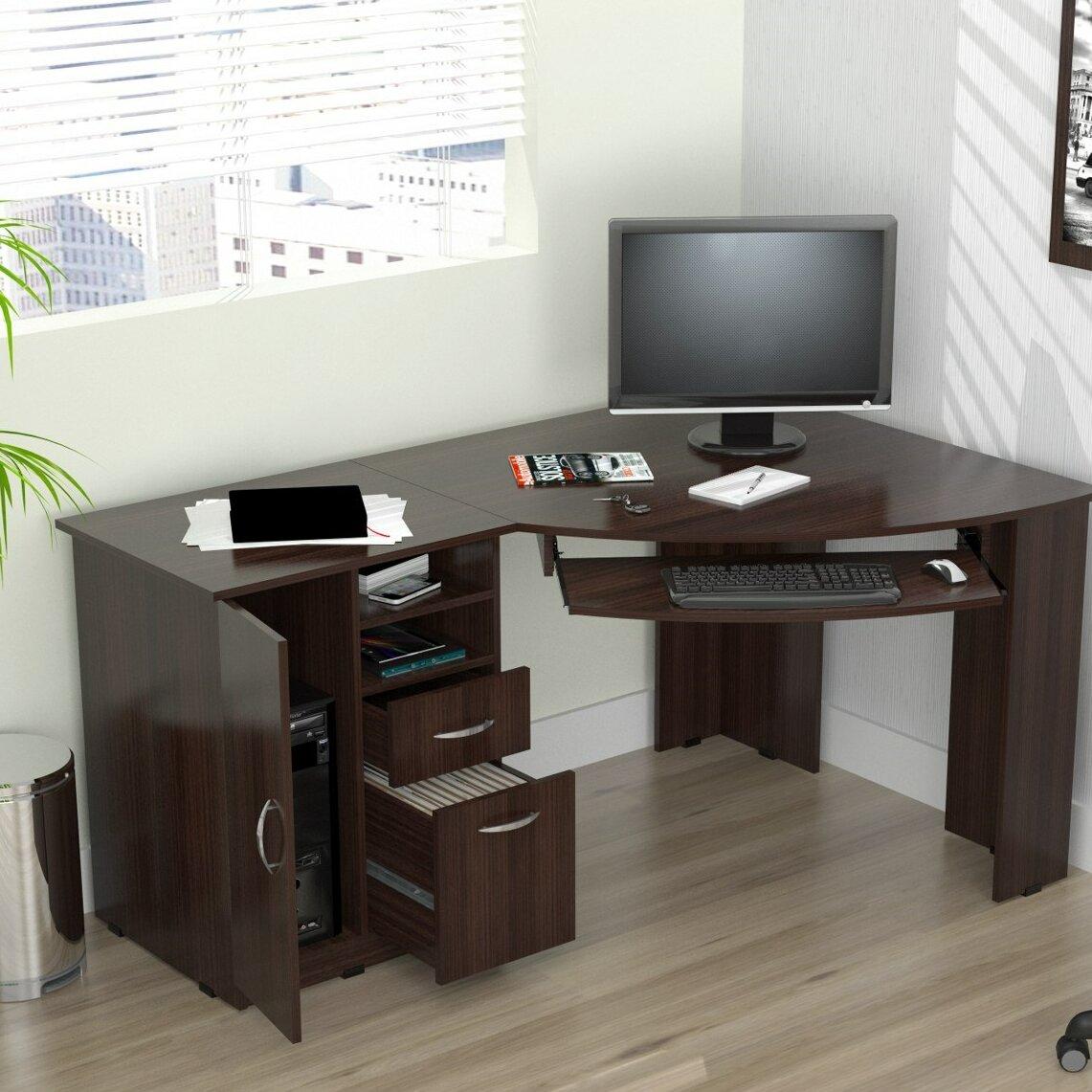 inval computer desk with shelf reviews wayfair. Black Bedroom Furniture Sets. Home Design Ideas